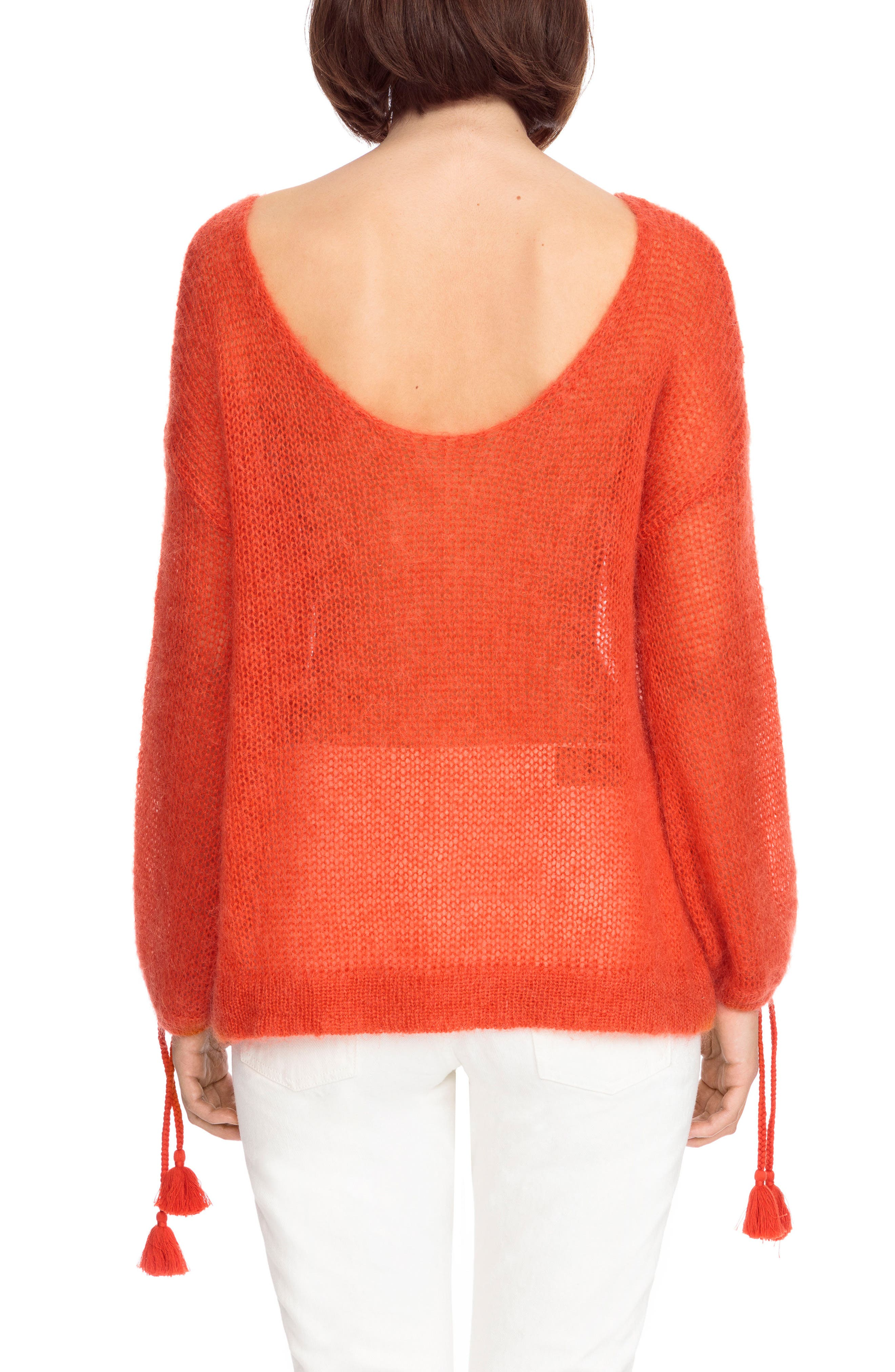 Dicky Tie Cuff Sweater,                             Alternate thumbnail 3, color,                             Orange Red