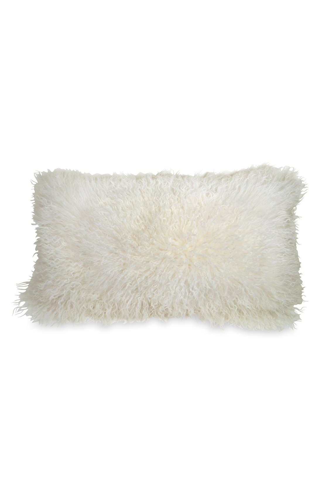 Donna Karan Collection Moonscape Flokati Genuine Sheepskin Pillow,                             Main thumbnail 1, color,                             Ivory
