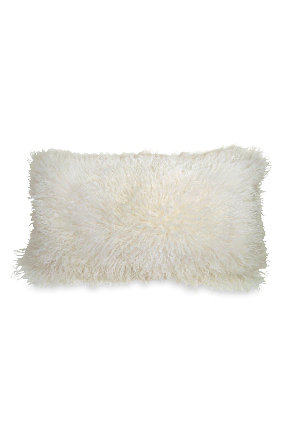 Donna Karan Collection Moonscape Flokati Genuine Sheepskin Pillow,                         Main,                         color, Ivory