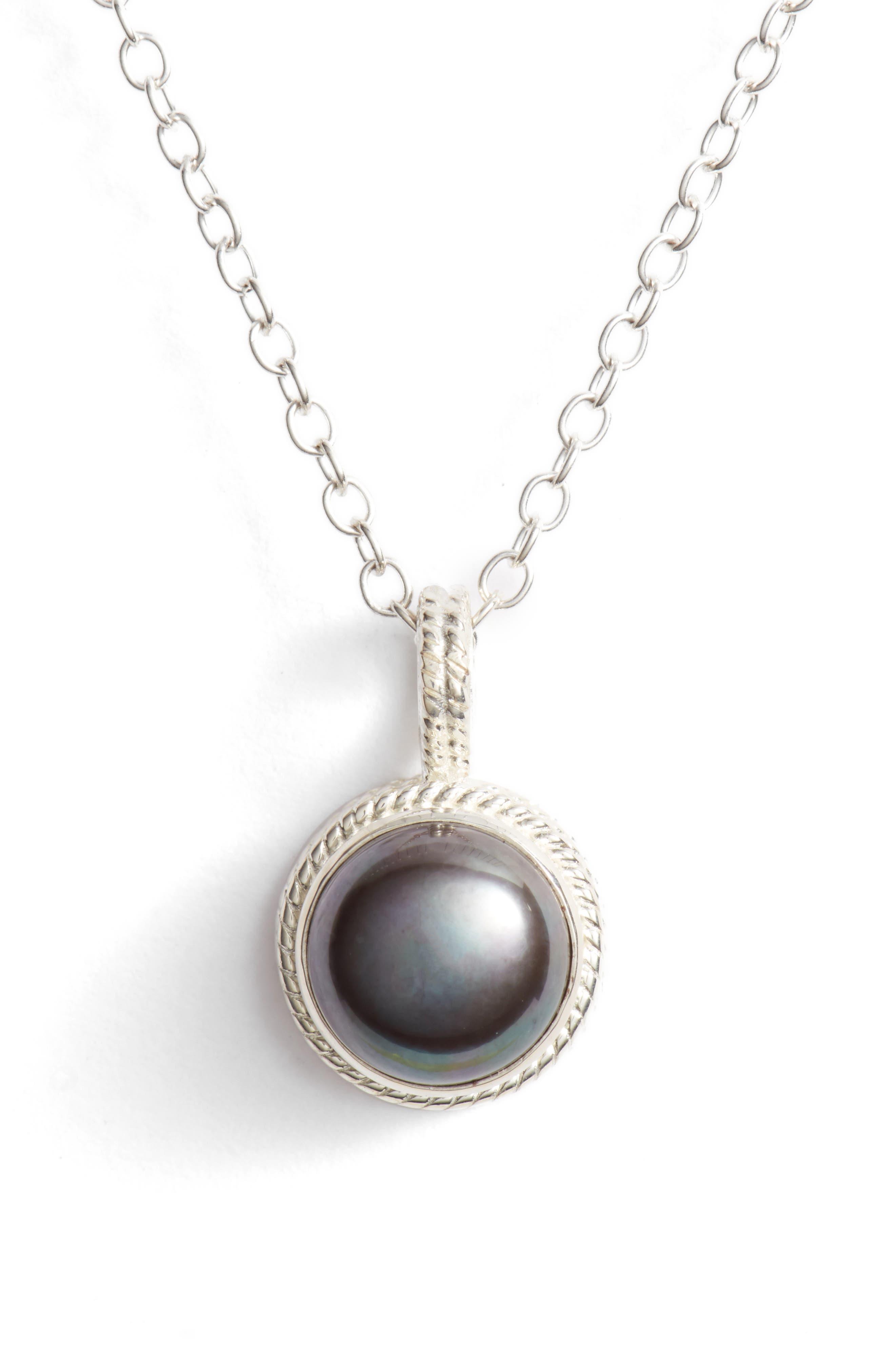 Genuine Blue Pearl Pendant Necklace,                         Main,                         color, Silver/ Blue Pearl