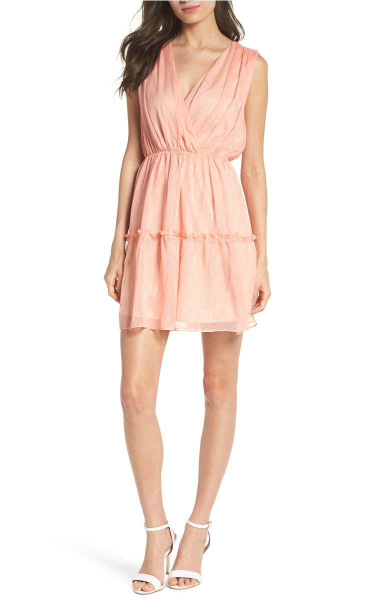 Tie Dye Chiffon Minidress,                         Main,                         color, Coral
