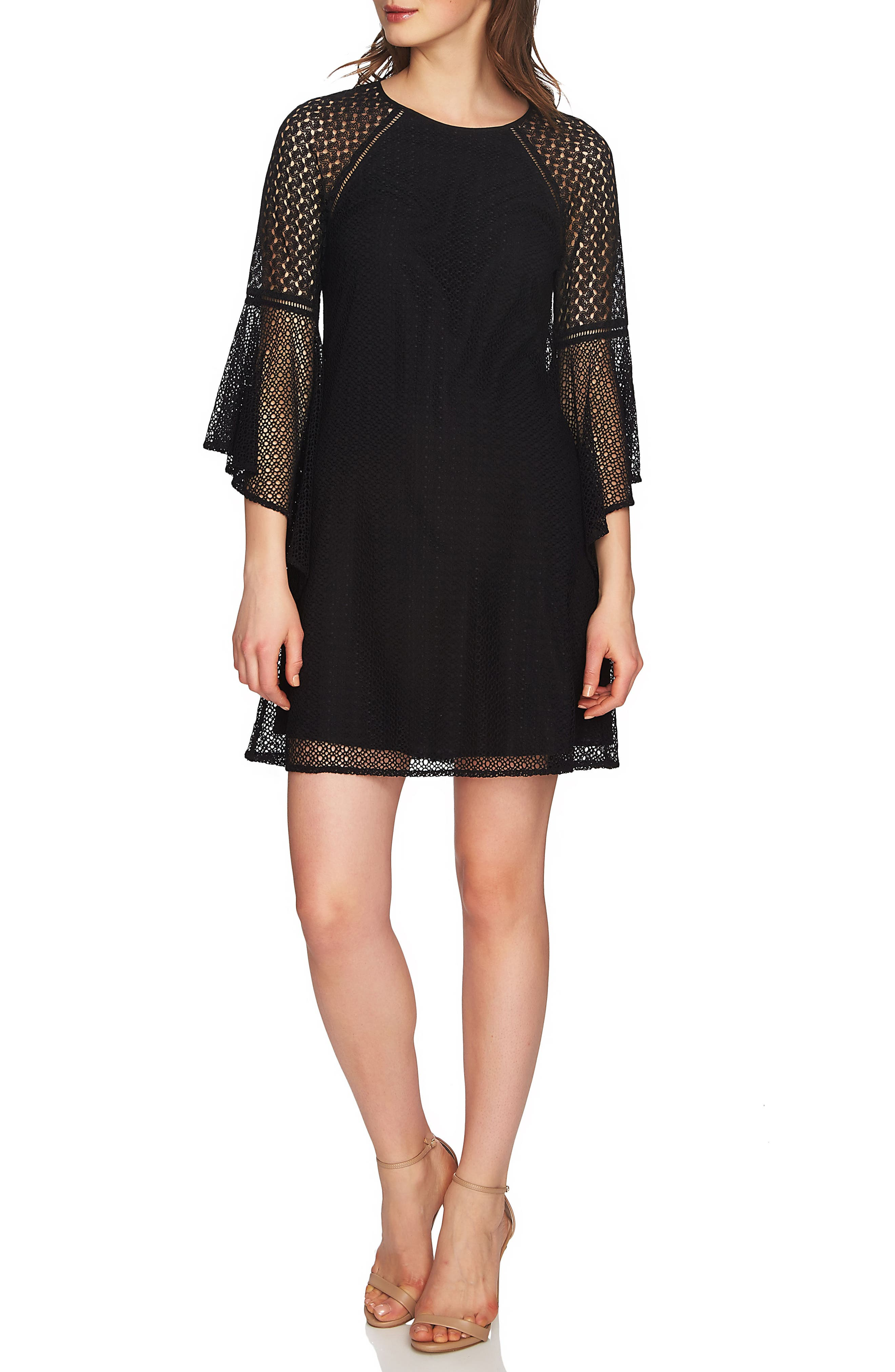 Keira Bell Sleeve Lace A-Line Dress,                             Main thumbnail 1, color,                             Rich Black