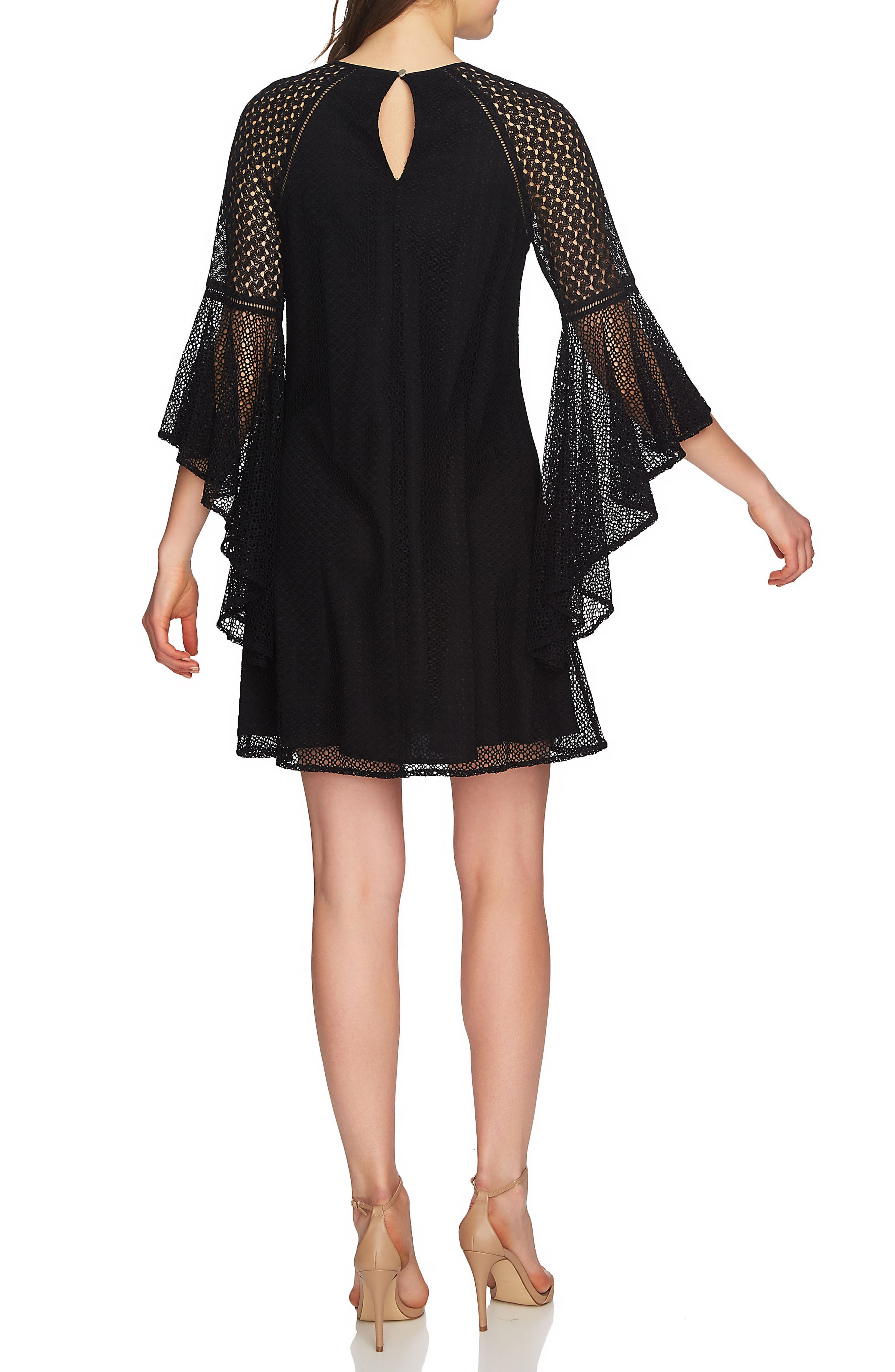 Keira Bell Sleeve Lace A-Line Dress,                             Alternate thumbnail 3, color,                             Rich Black