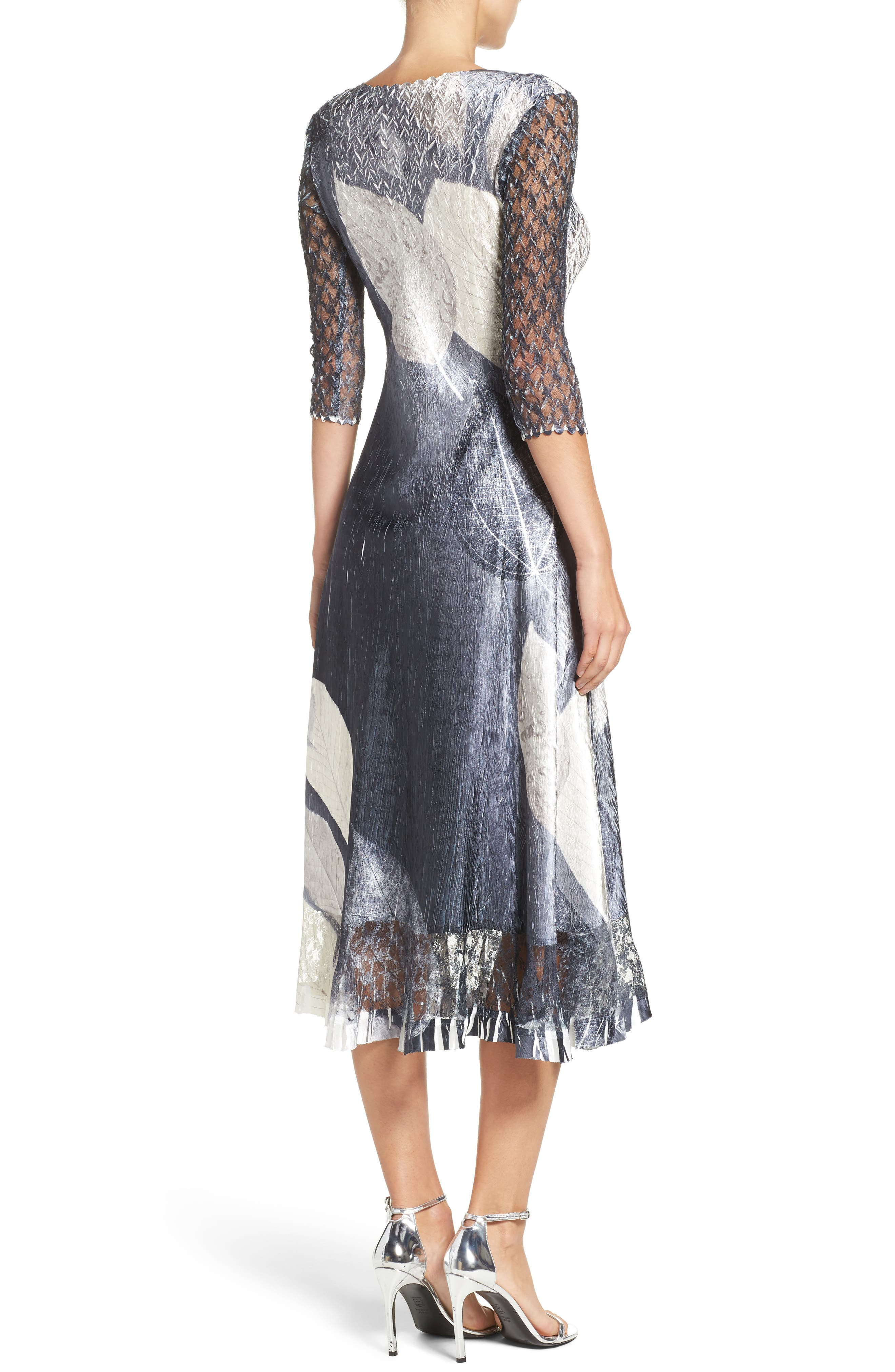 Alternate Image 2  - Komarov Print Charmeuse & Lace A-Line Dress (Regular & Petite)