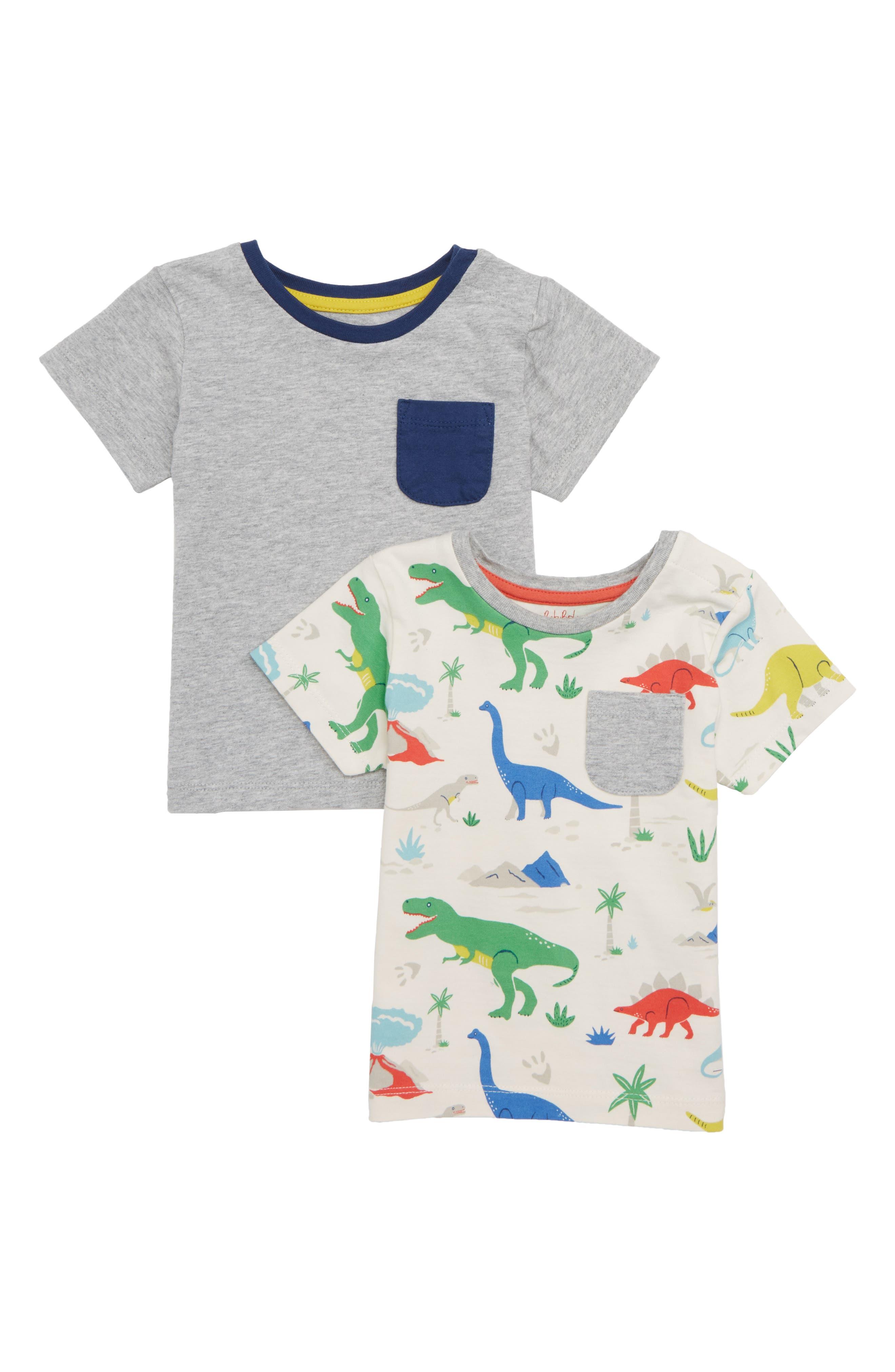2-Pack T-Shirts,                         Main,                         color, Grey Marl/ Dinosauer