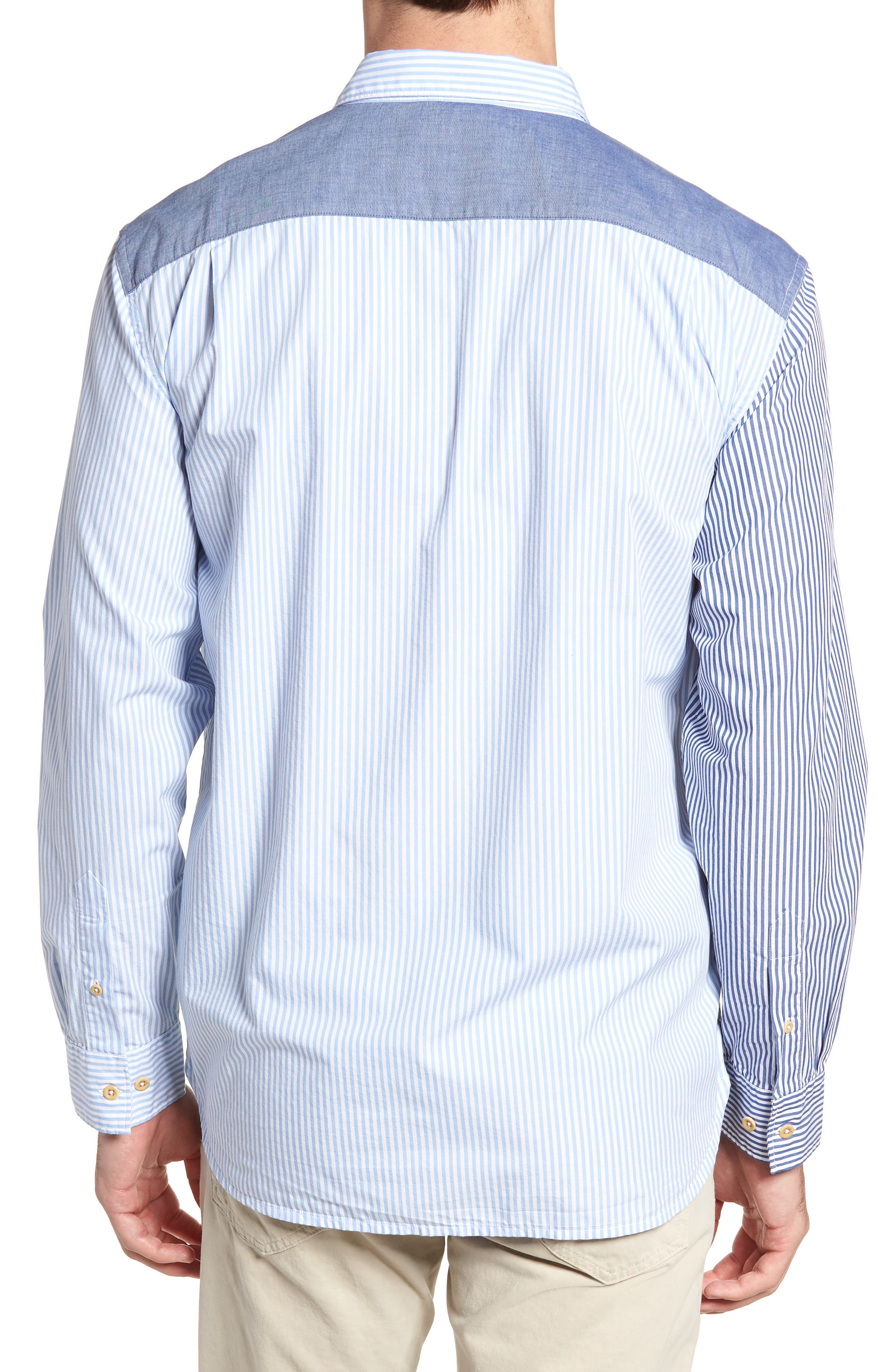 Patchwork Relaxed Fit Sport Shirt,                             Alternate thumbnail 2, color,                             Blue Blood