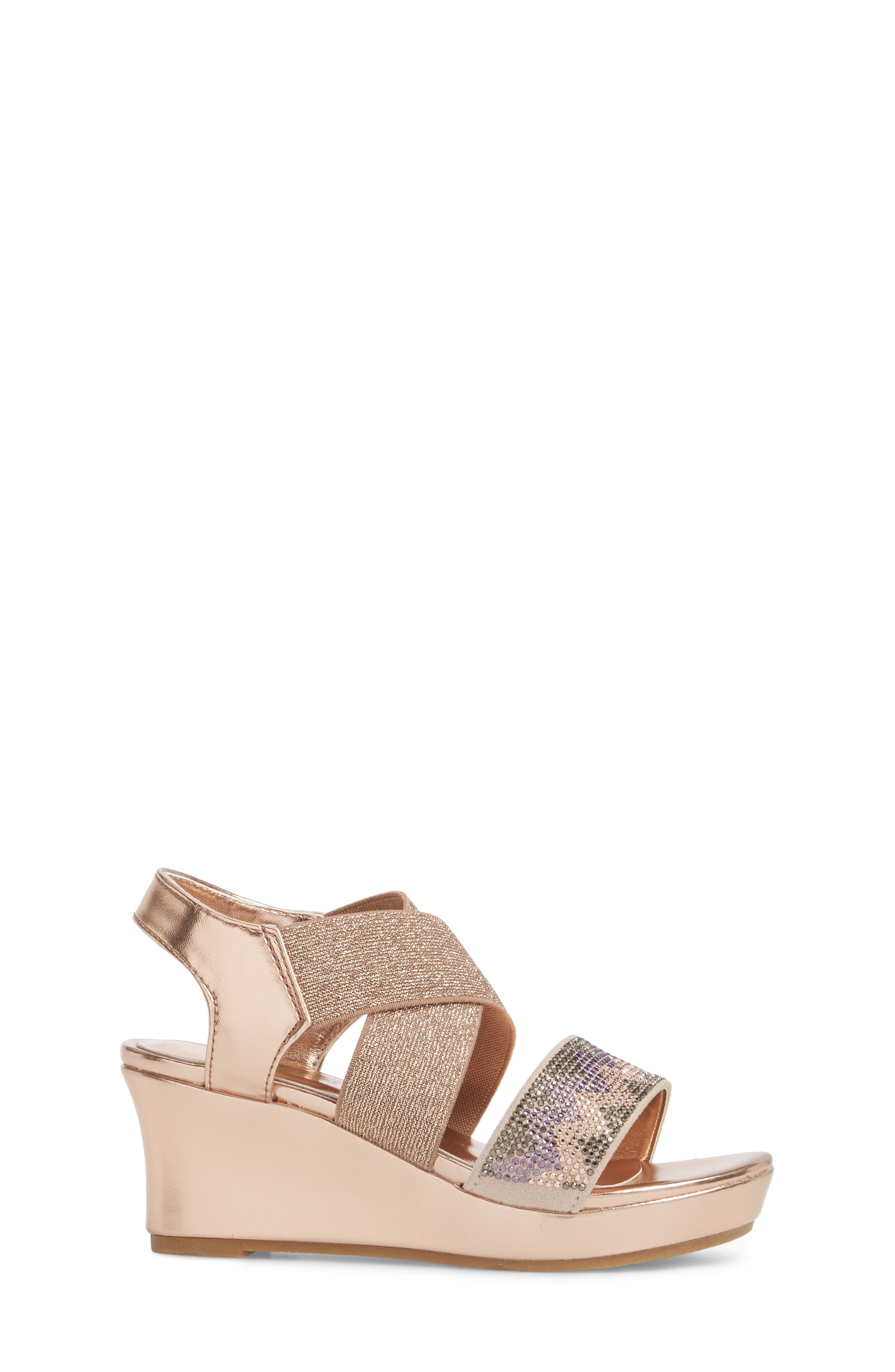 Reaction Kenneth Cole Reed Mamba Embellished Wedge Sandal,                             Alternate thumbnail 3, color,                             Rose Metallic