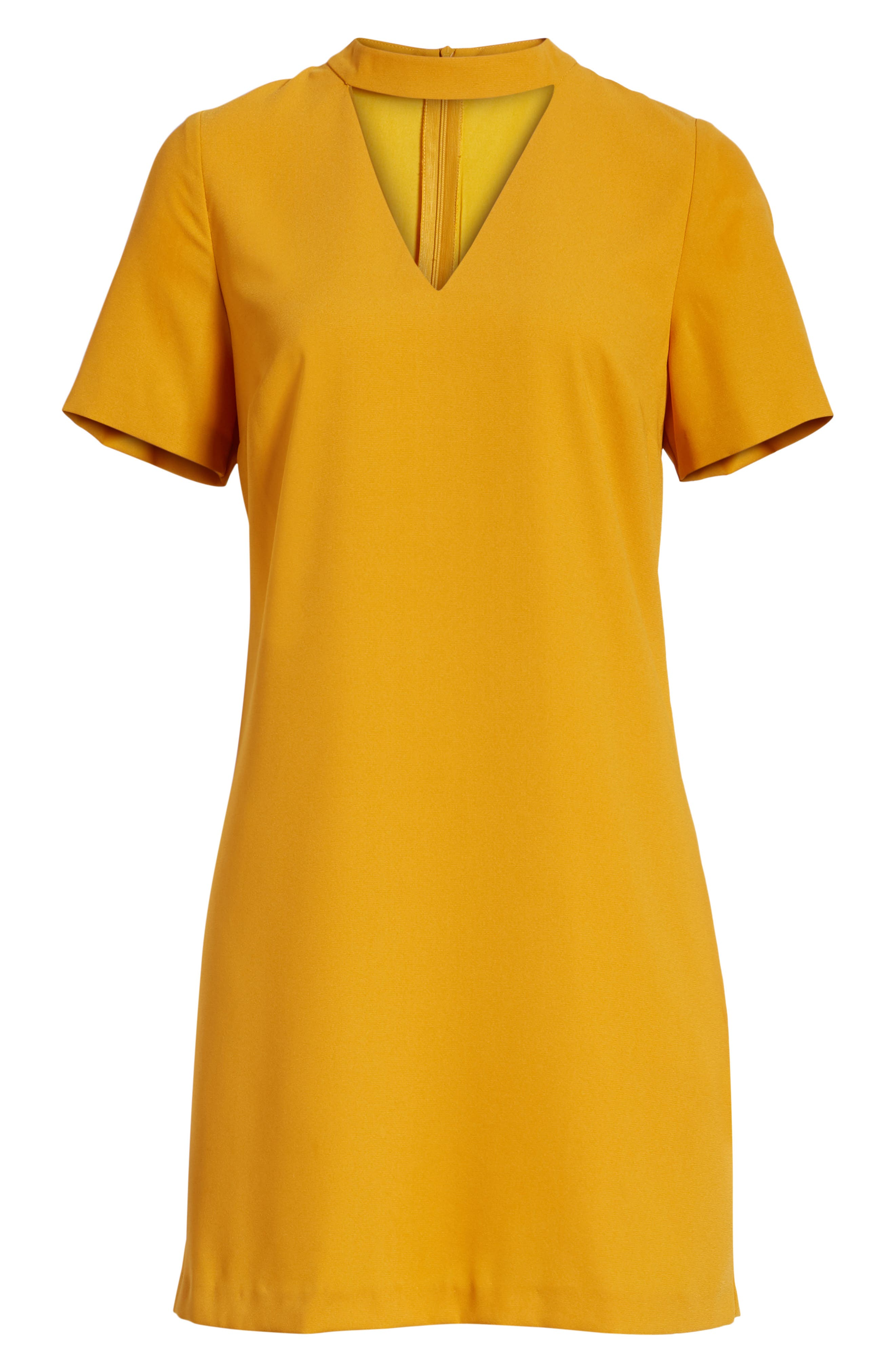 Bishop + Young Sasha Shift Dress,                             Alternate thumbnail 7, color,                             Mustard