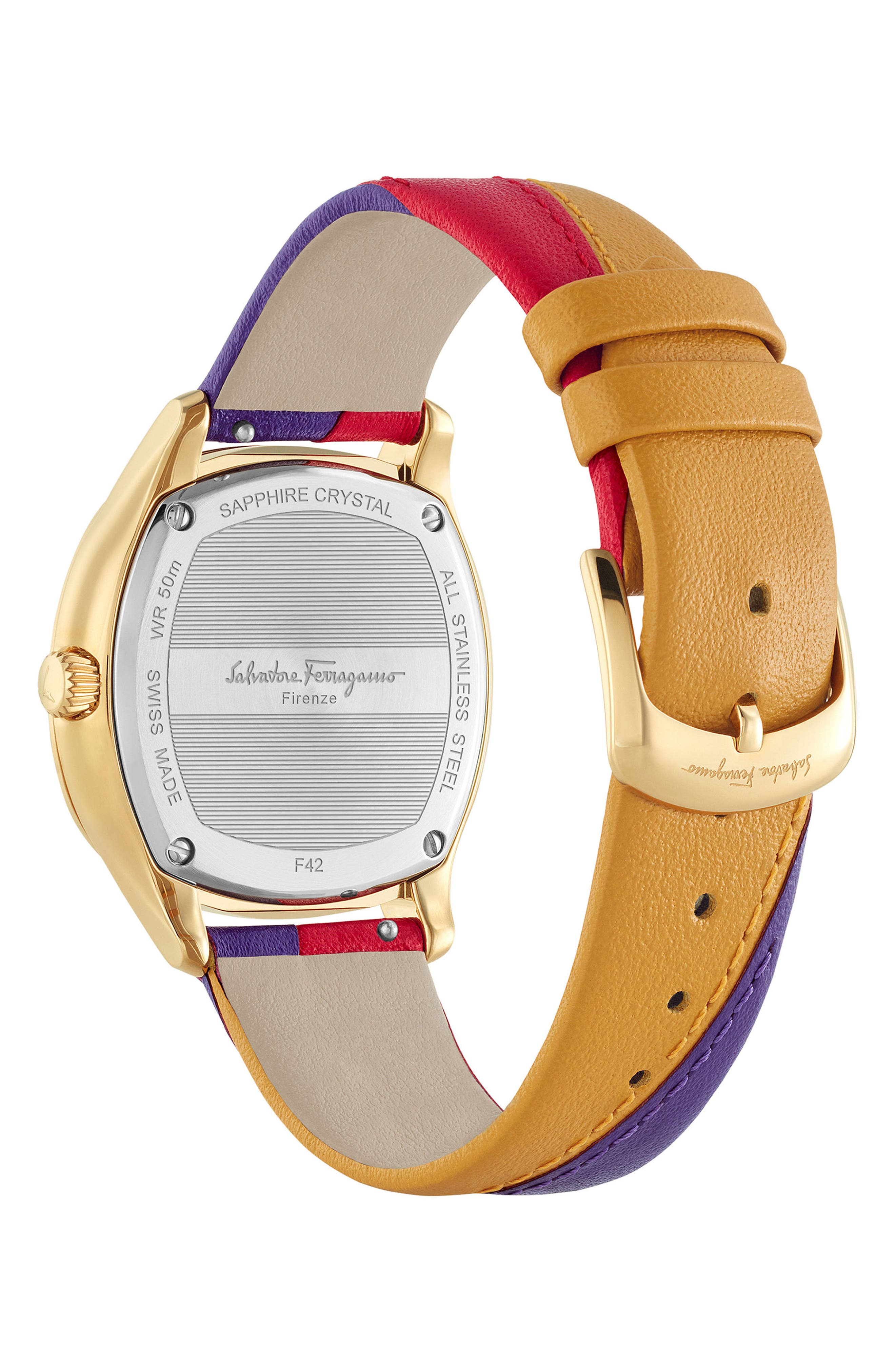 Time Square Leather Strap Watch, 36mm,                             Alternate thumbnail 2, color,                             Multi/ Gold