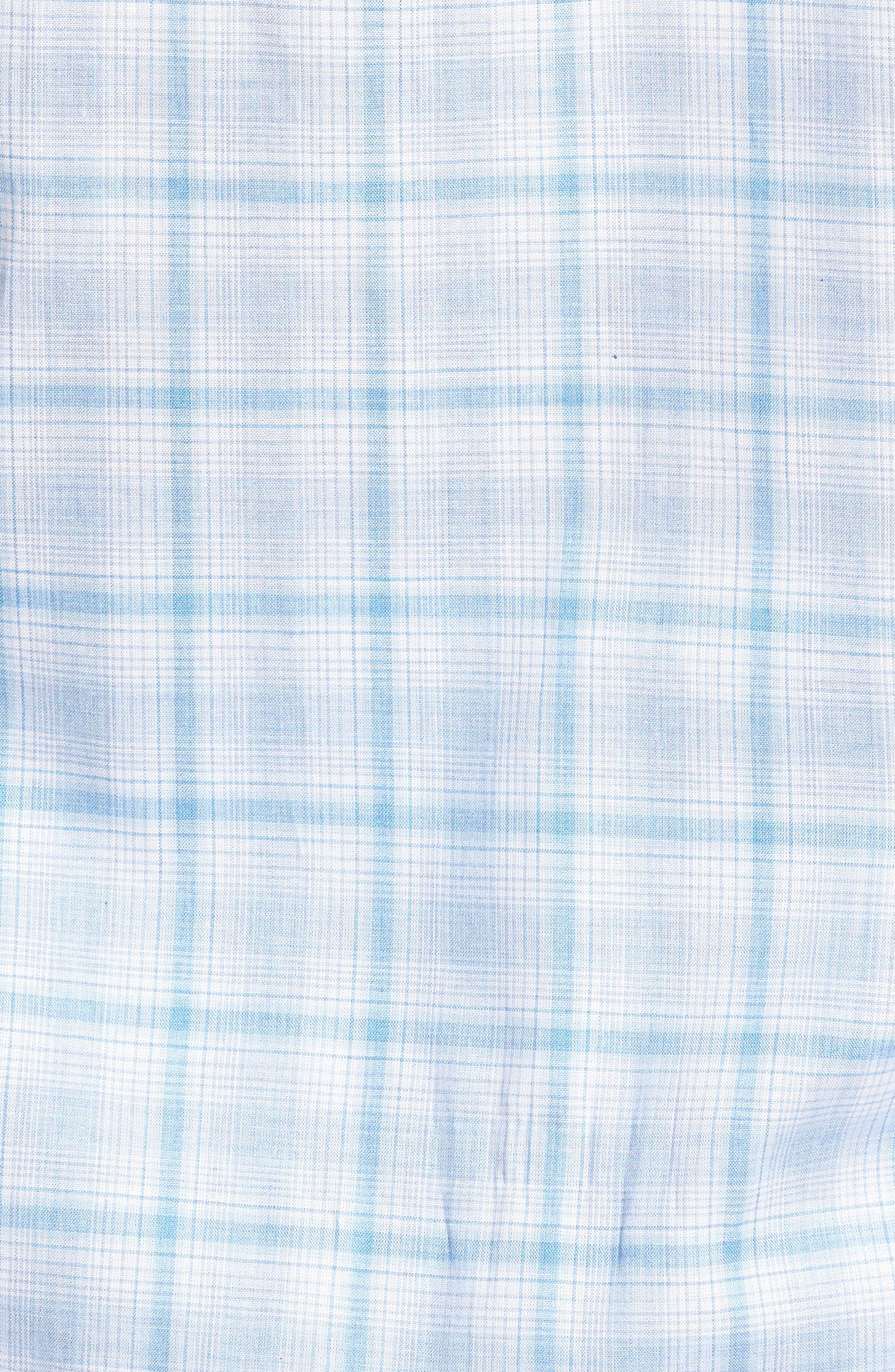 Kin Trim Fit Grid Plaid Sport Shirt,                             Alternate thumbnail 5, color,                             Light Blue