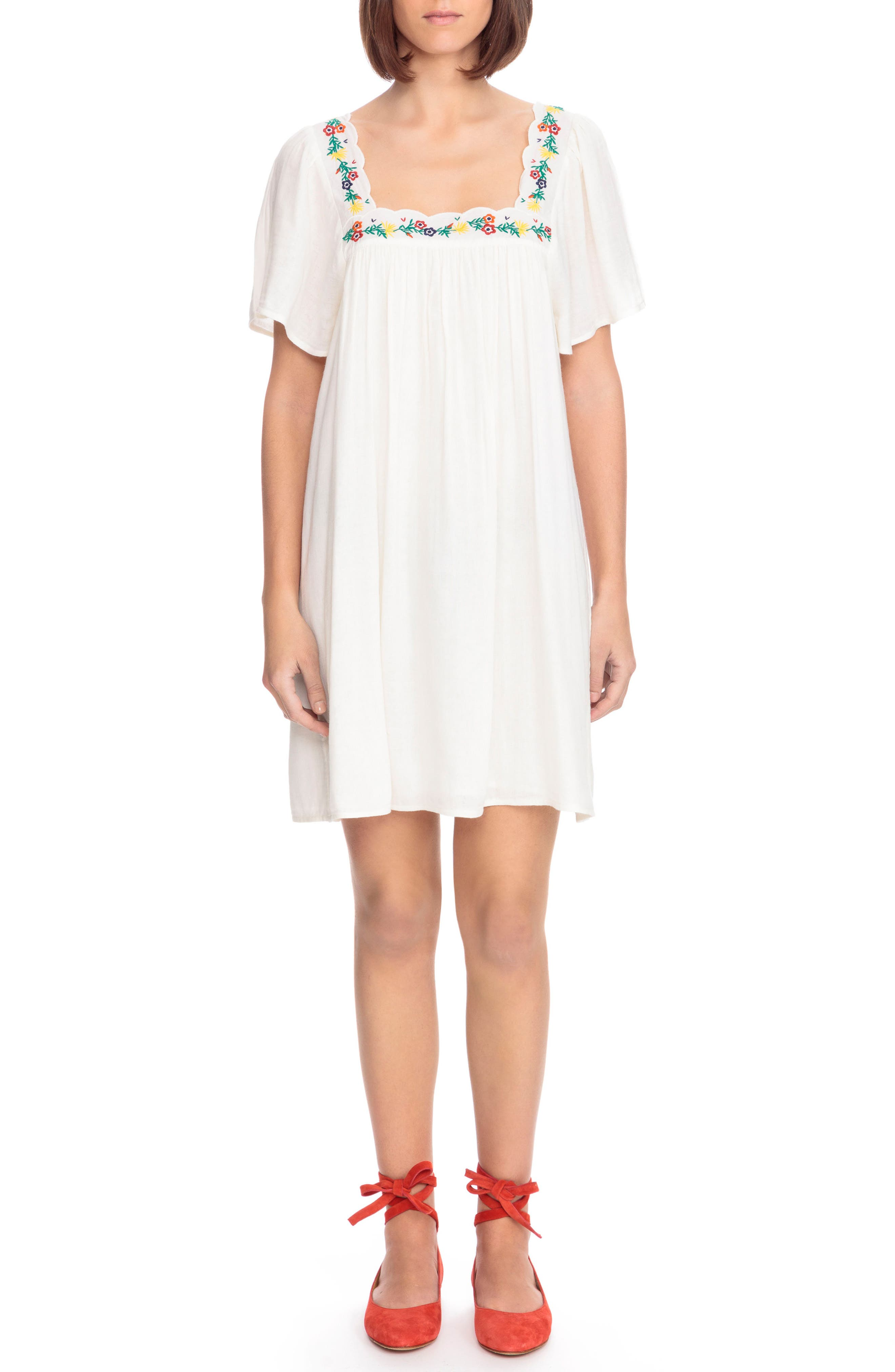 Sézane Caitlin Embroidered Shift Dress