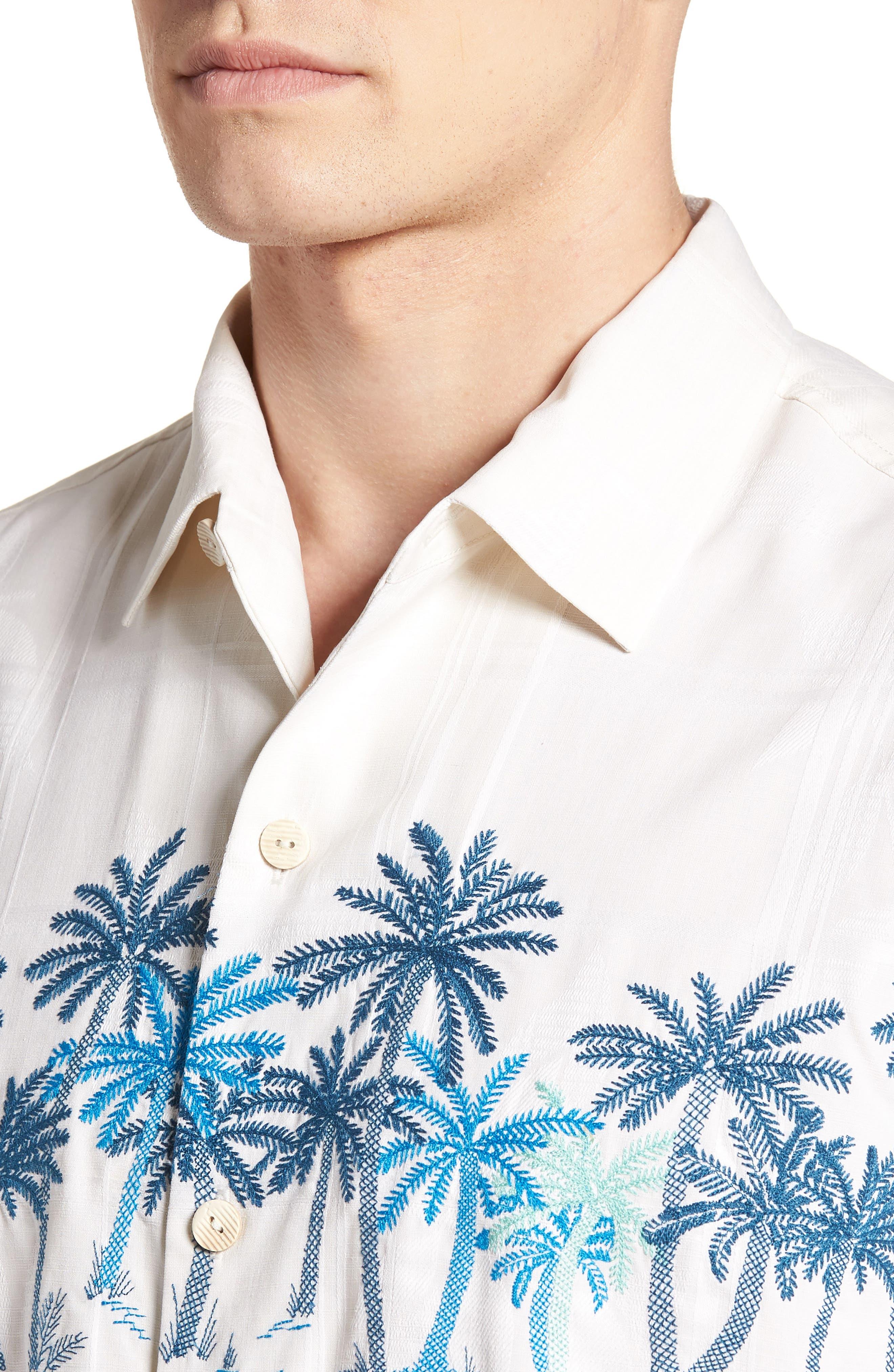 Puerto Vallarta Palms Silk Camp Shirt,                             Alternate thumbnail 2, color,                             Continental