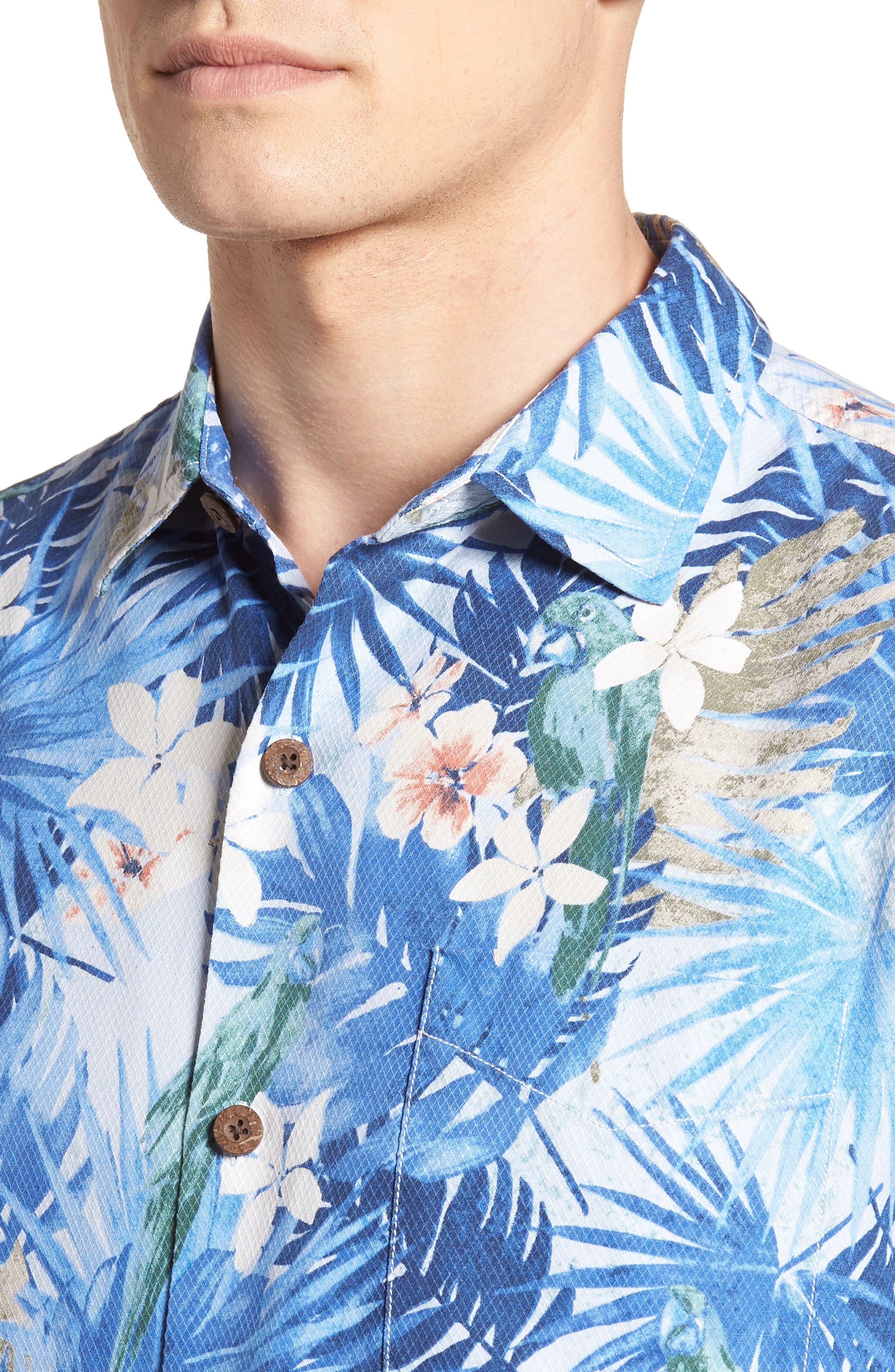Marino Paradise Silk Camp Shirt,                             Alternate thumbnail 2, color,                             Sky Blue