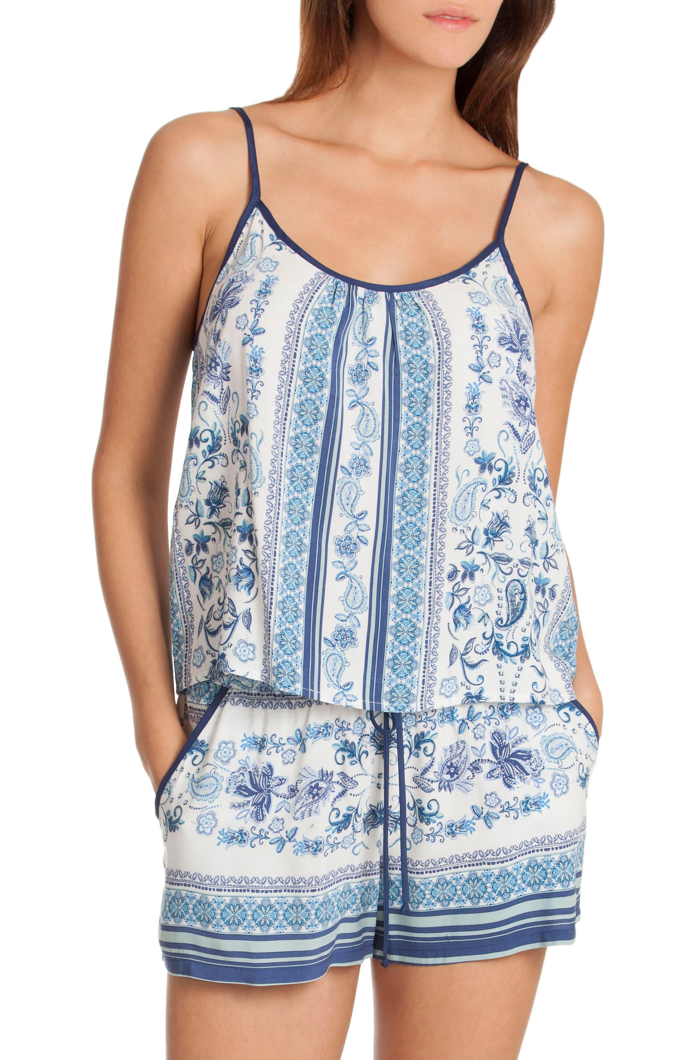 Short Pajamas,                             Main thumbnail 1, color,                             Blue/ White Print