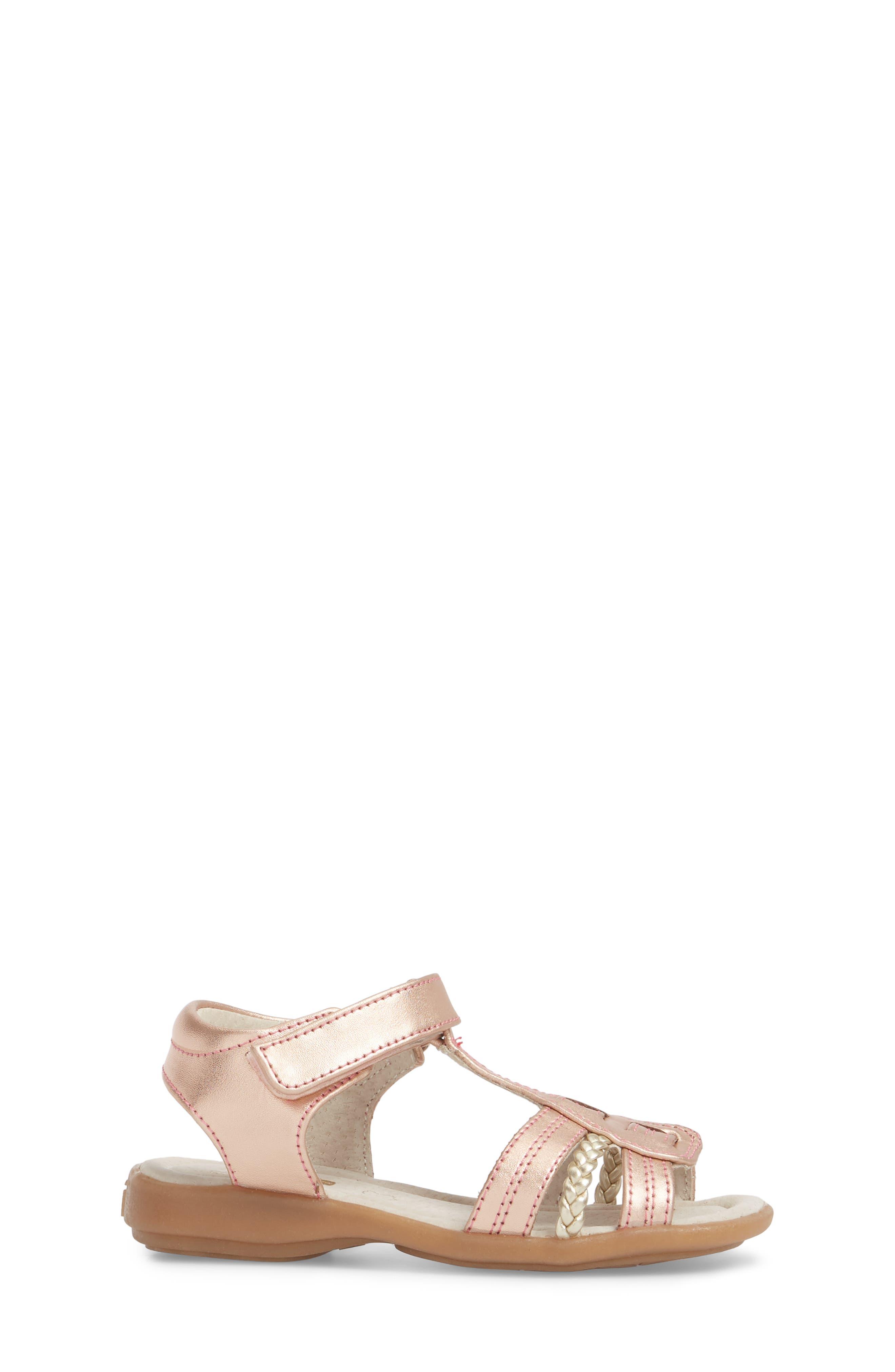 Hadley Metallic Sandal,                             Alternate thumbnail 3, color,                             Rose Gold