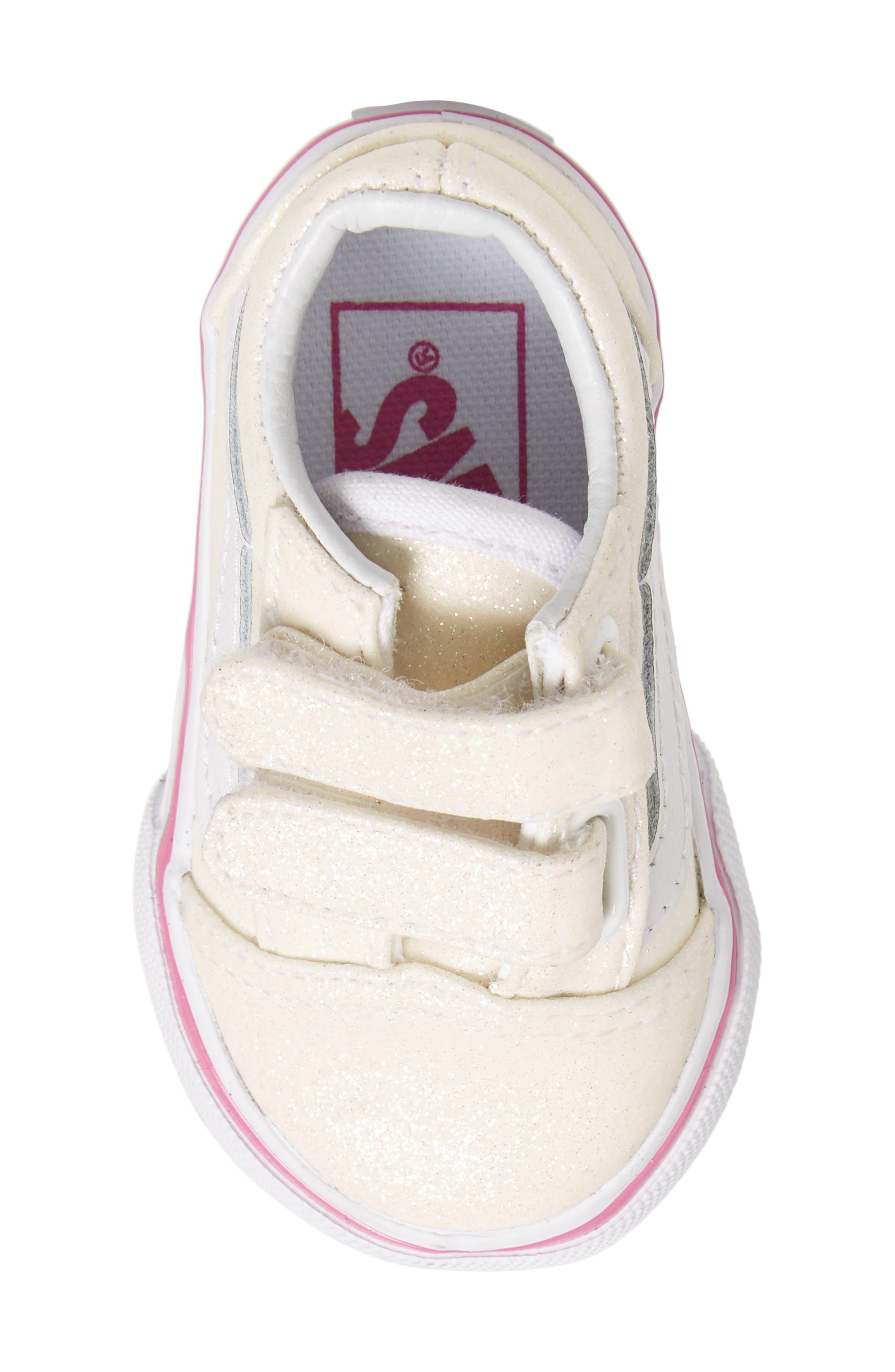 Old Skool V Glitter Sneaker,                             Alternate thumbnail 5, color,                             Rainbow White Glitter
