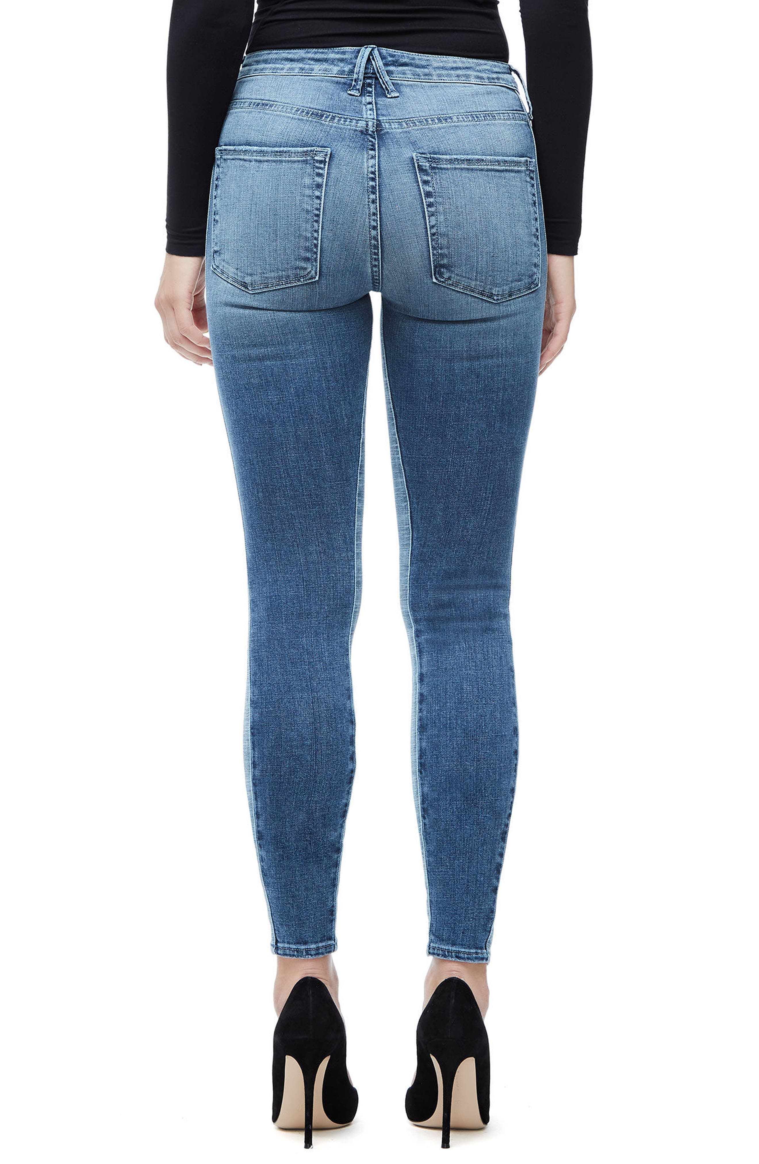 Good Waist Piecing High Waist Skinny Jeans,                             Alternate thumbnail 2, color,                             Blue128