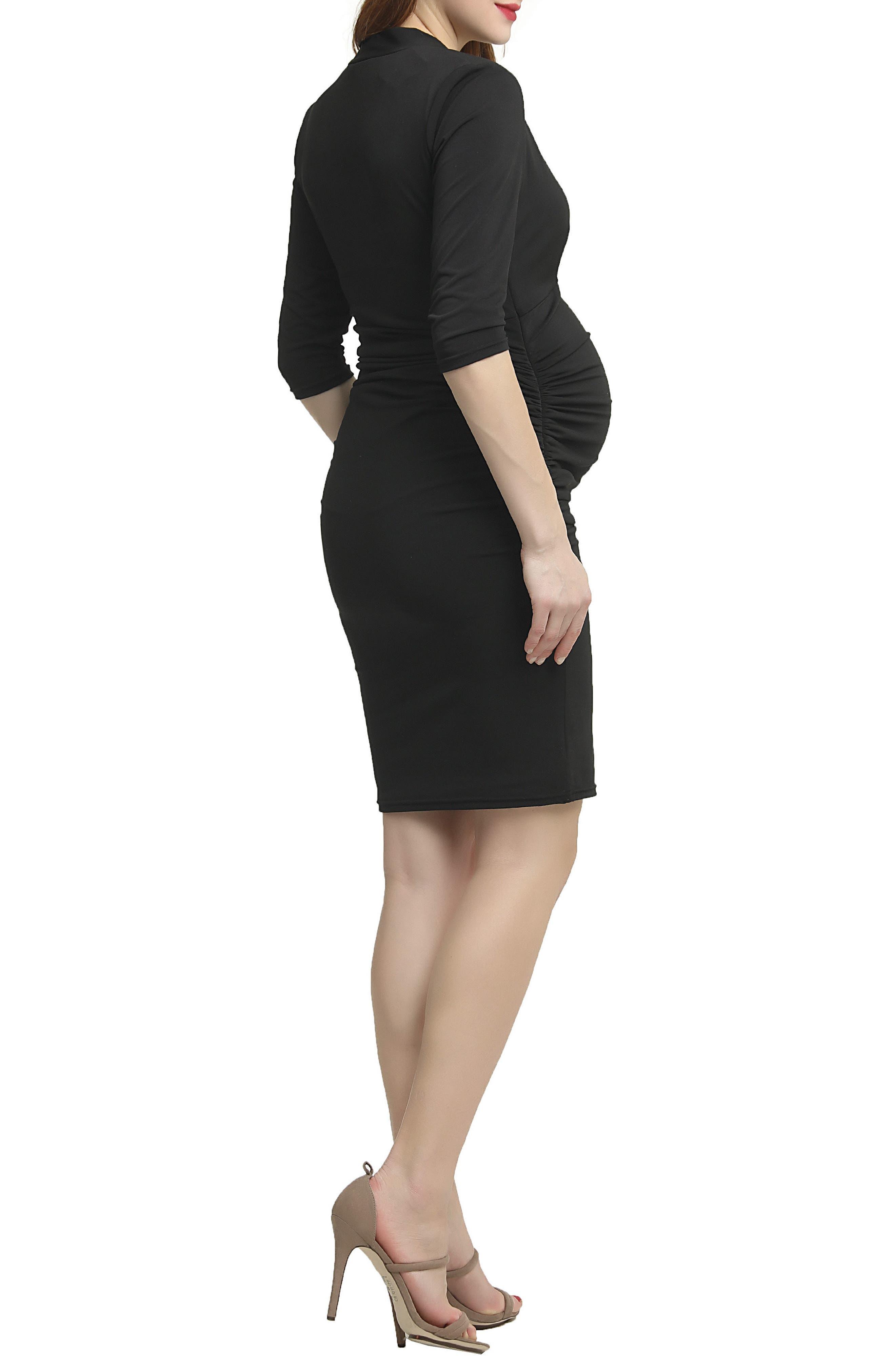 Lisa Wrap Neck Maternity Dress,                             Alternate thumbnail 2, color,                             Black
