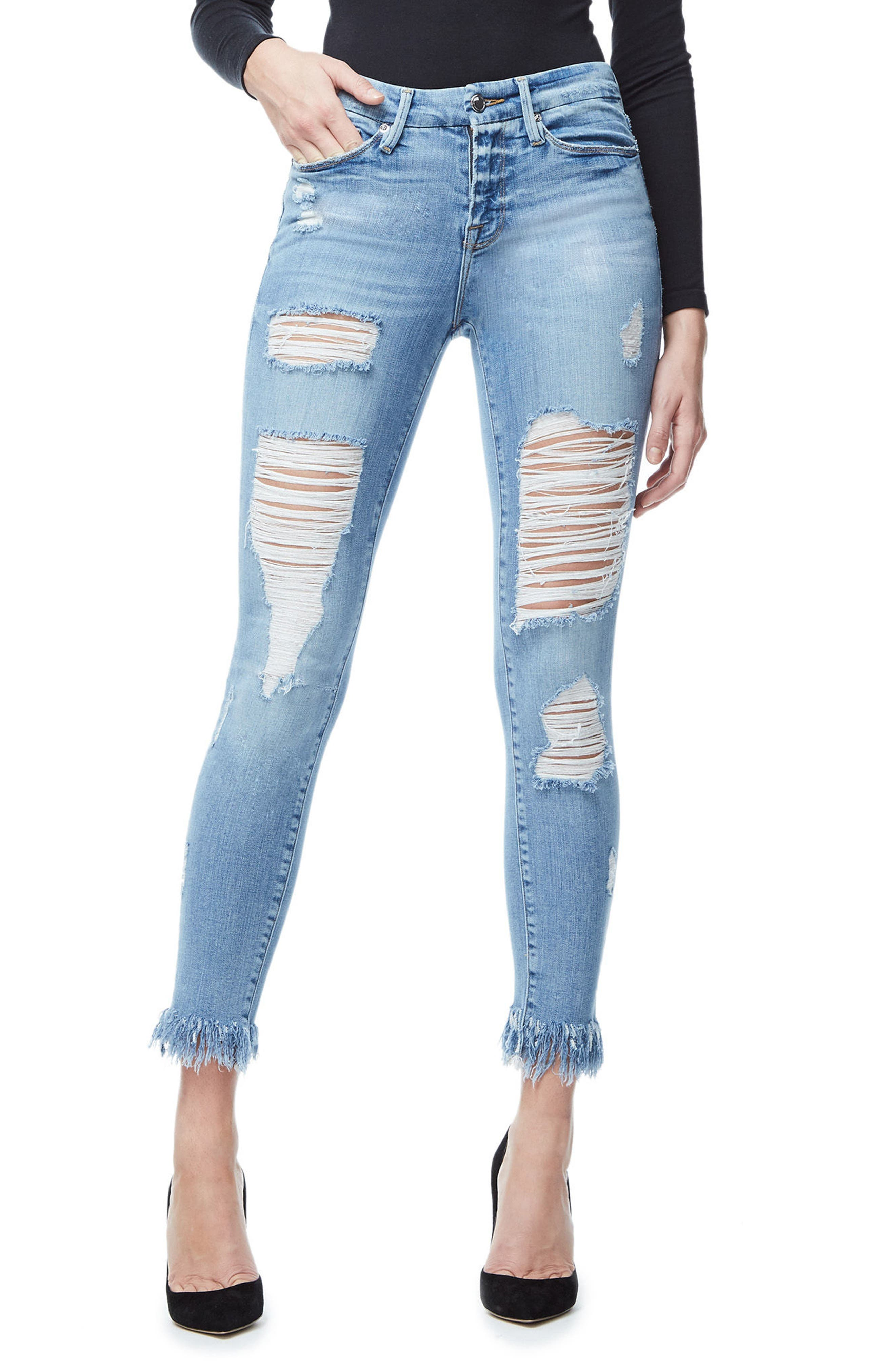 Good American Good Legs Fray Ankle Skinny Jeans (Blue 018) (Regular & Plus Size)