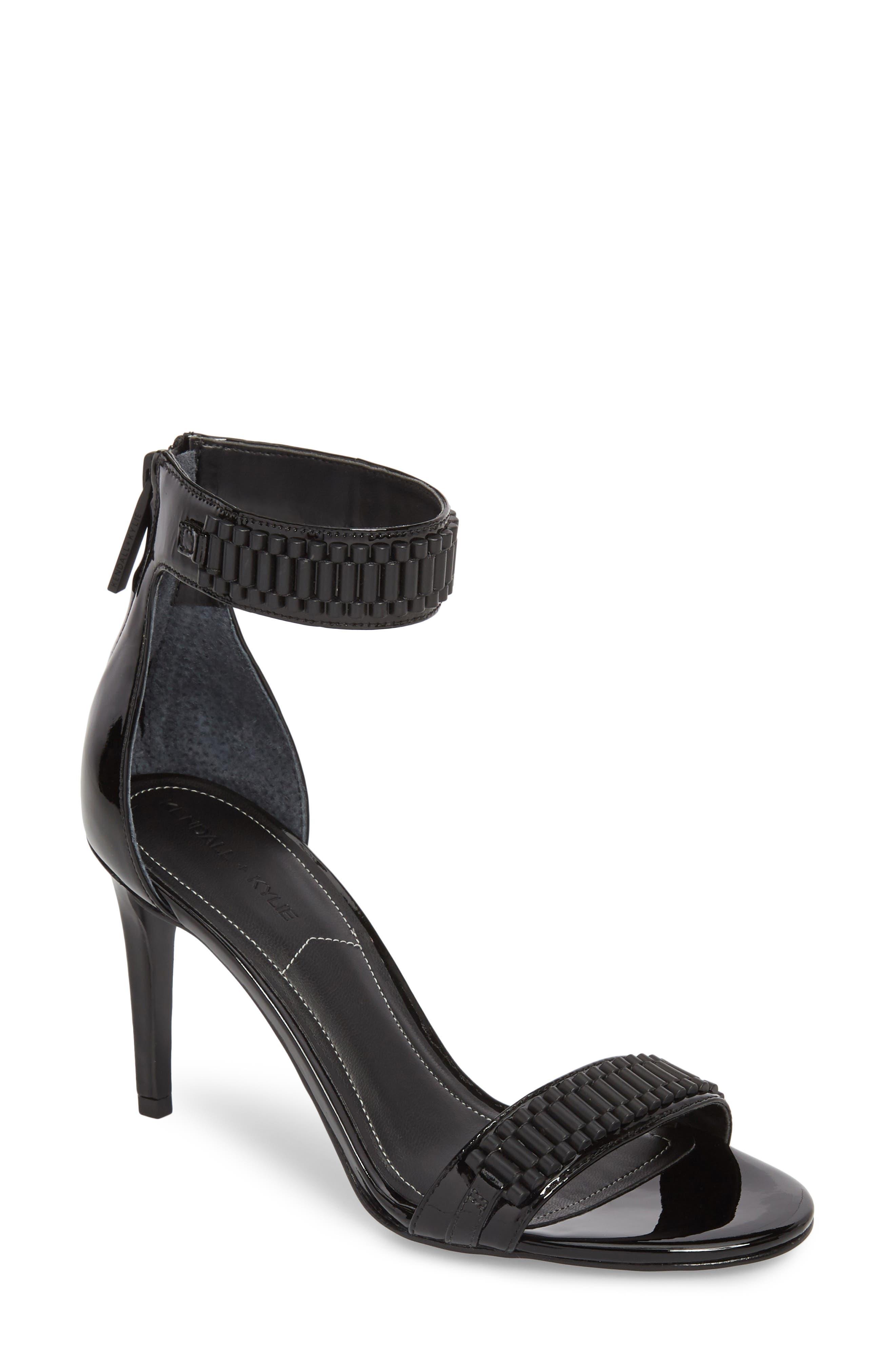 Miaa Beaded Sandal,                         Main,                         color, Black/ Black