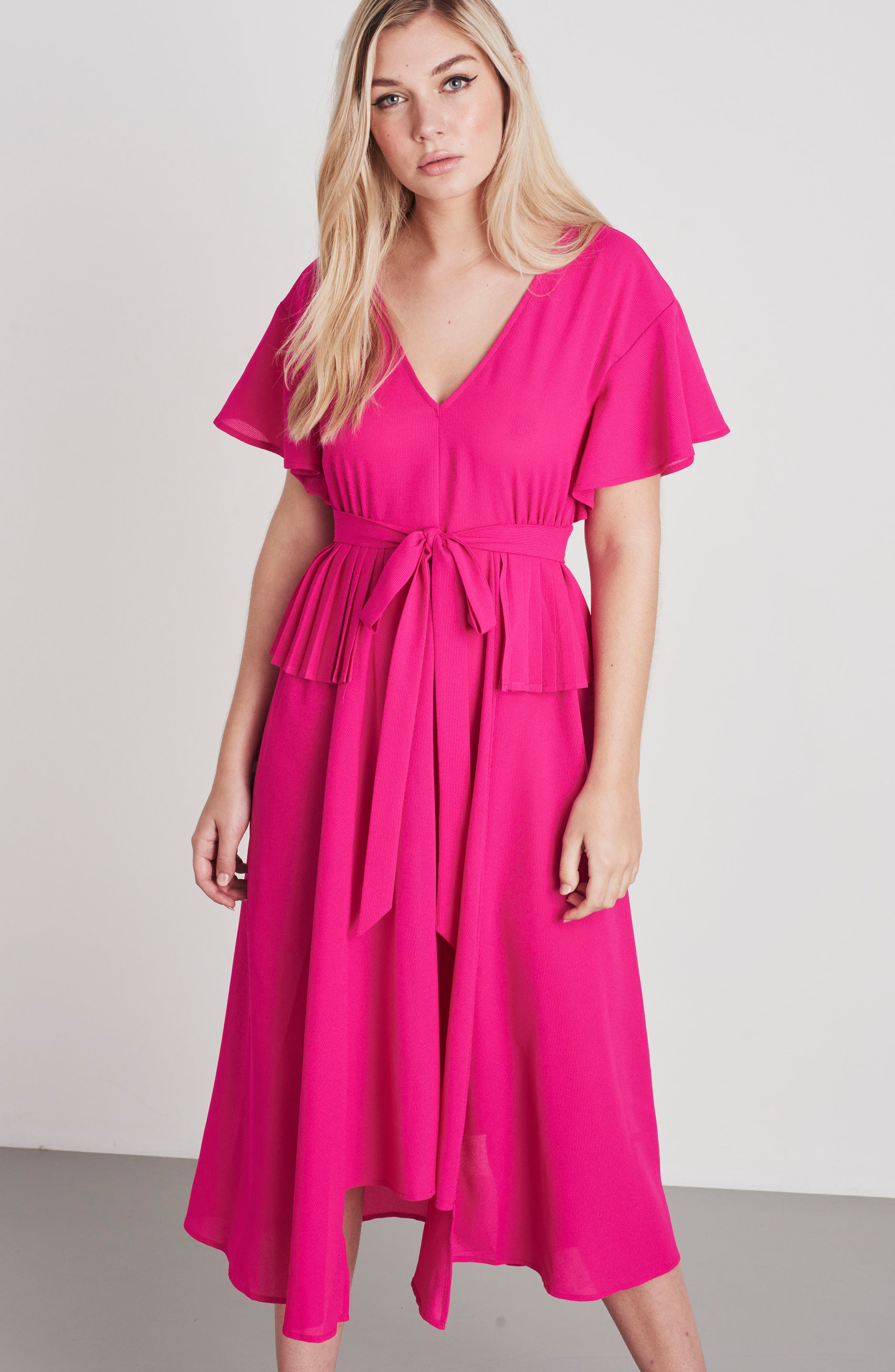 Chiffon Midi Dress,                             Alternate thumbnail 2, color,                             Fuchsia