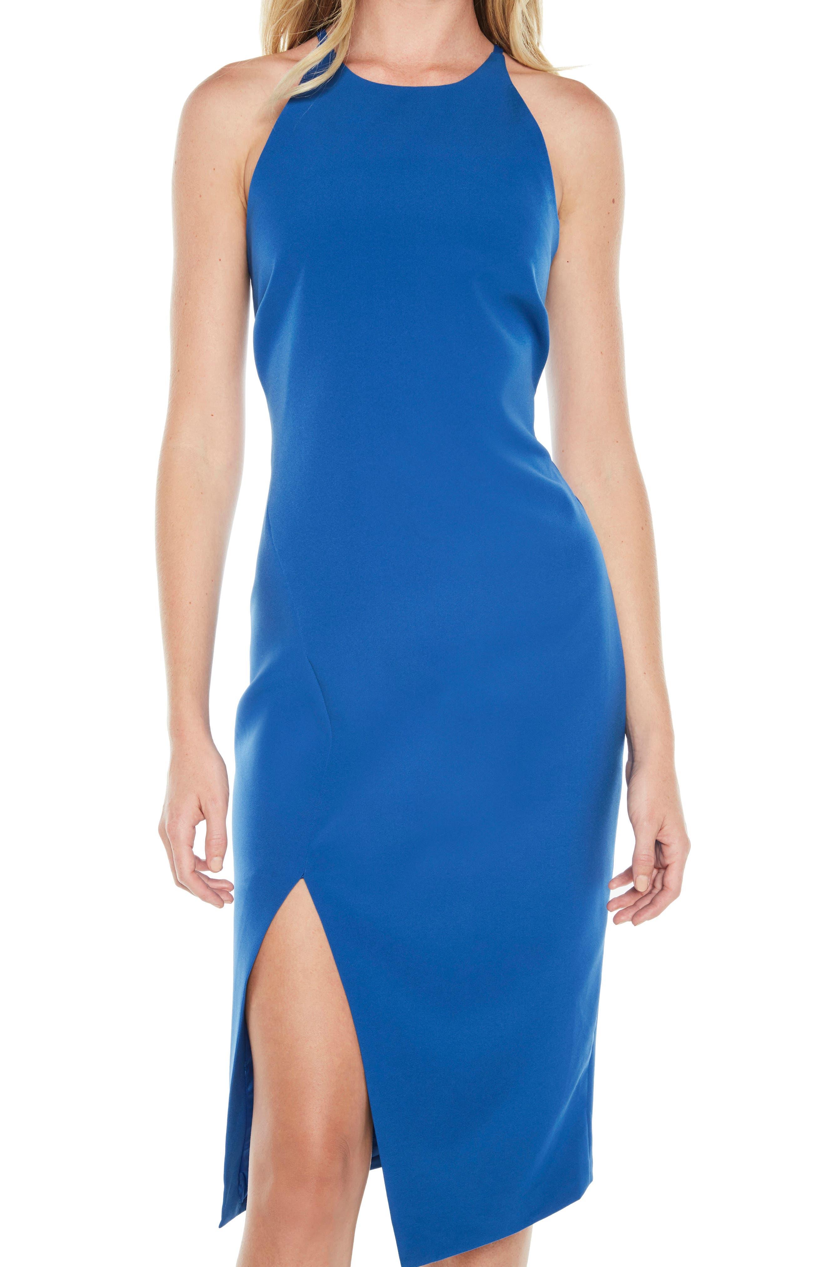Vera Open Back Halter Dress,                             Alternate thumbnail 5, color,                             Sea Blue