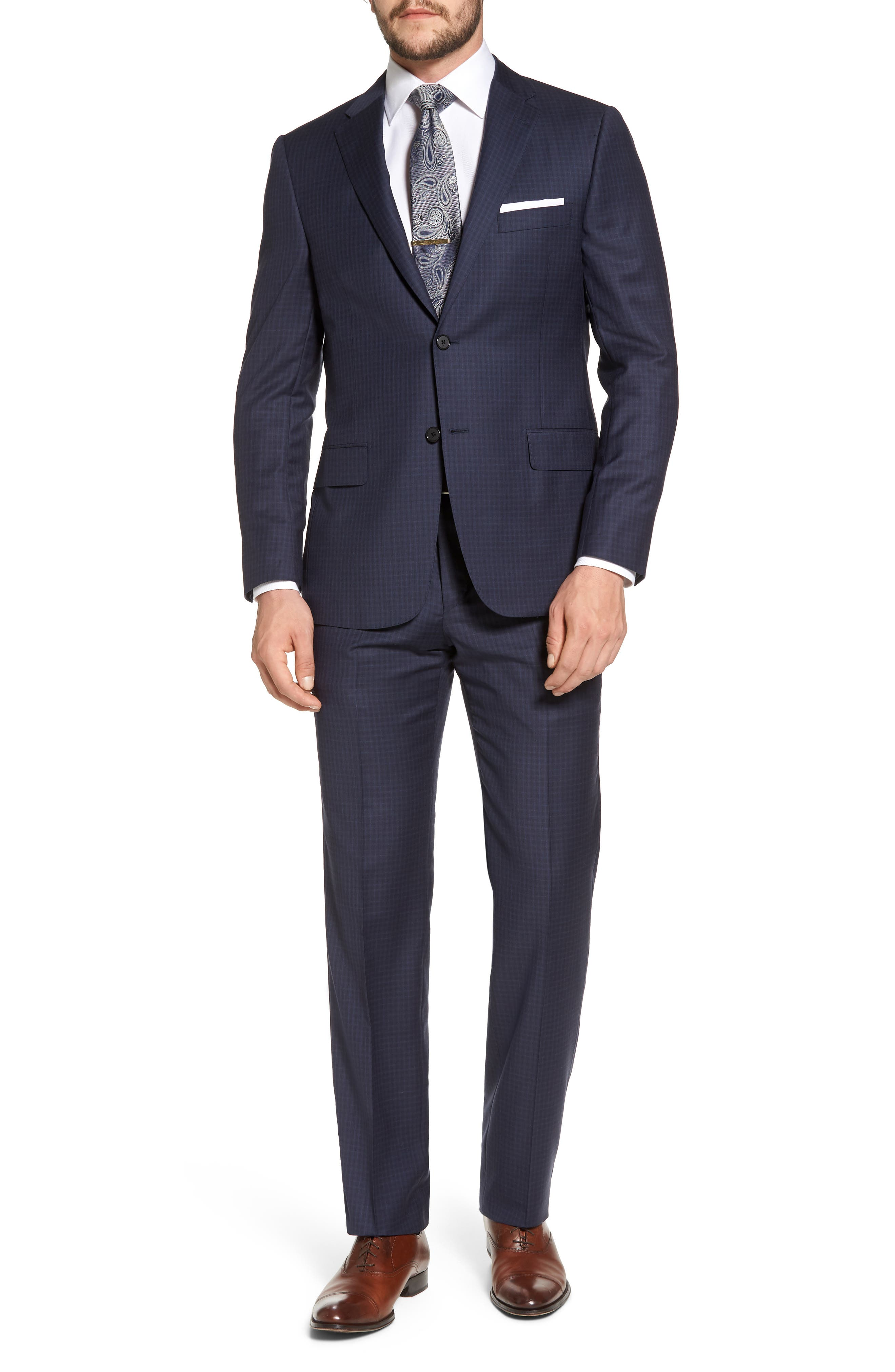 Classic B Fit Check Wool Suit,                             Main thumbnail 1, color,                             Navy