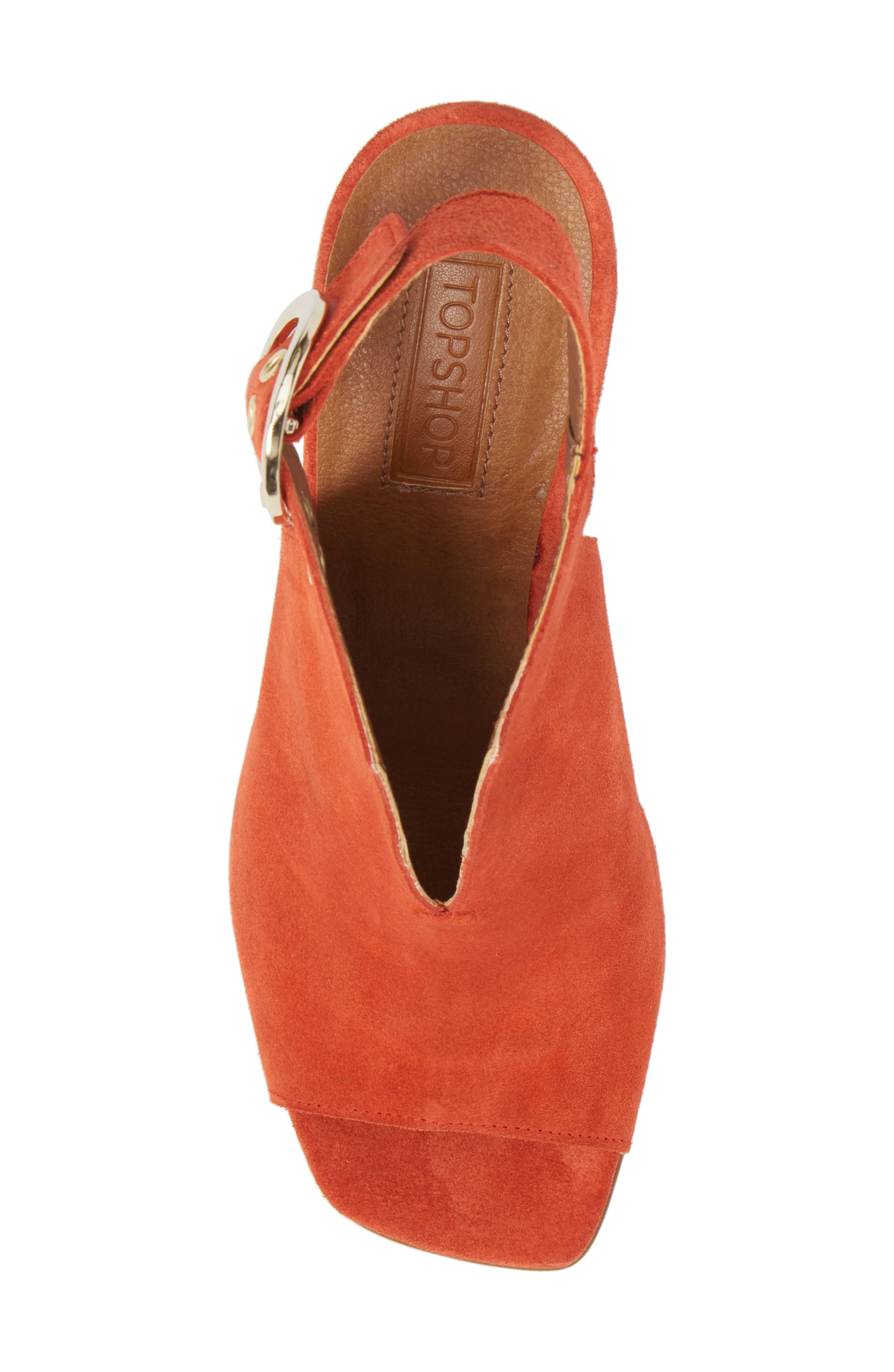 Nika Flared Heel Slingback Sandal,                             Alternate thumbnail 5, color,                             Orange