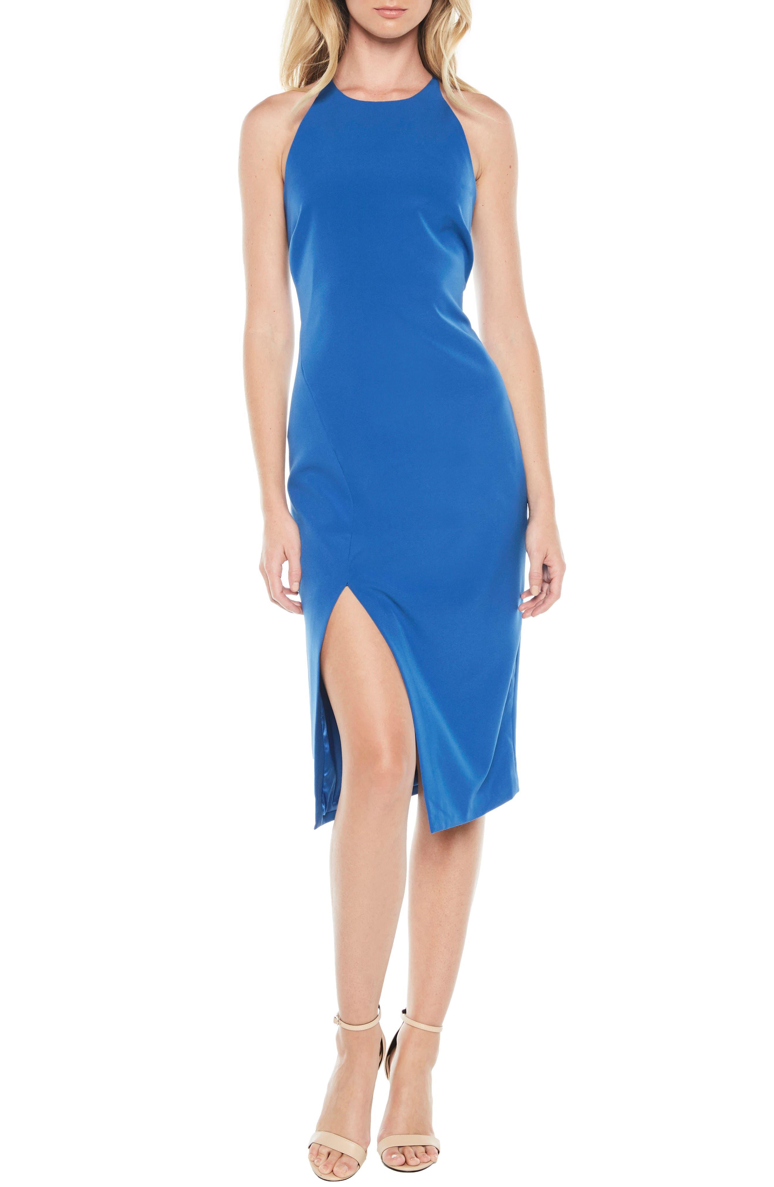Vera Open Back Halter Dress,                             Main thumbnail 1, color,                             Sea Blue