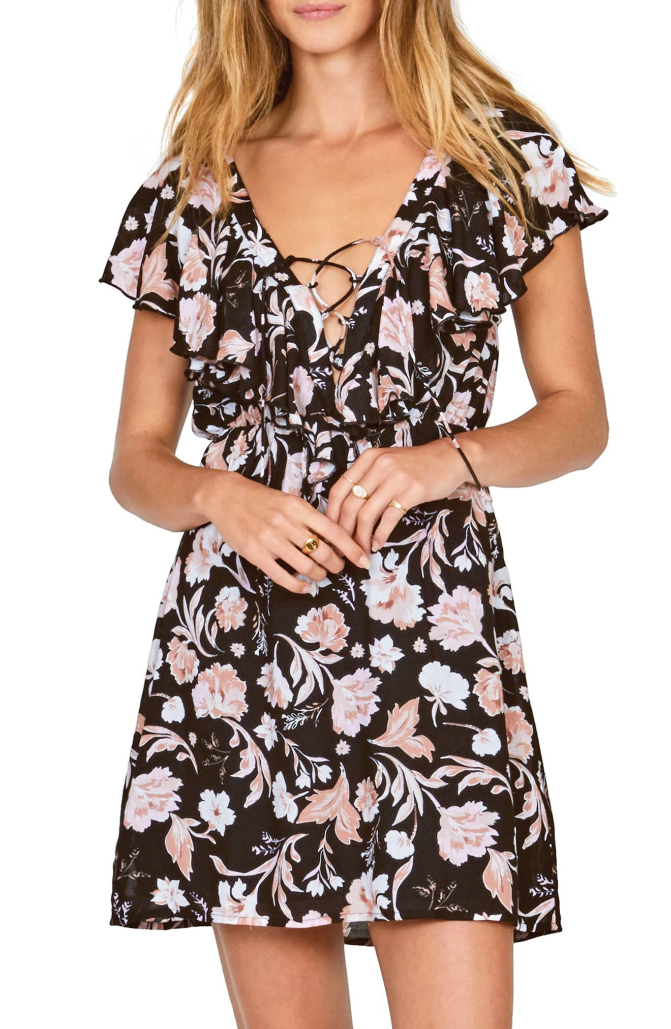 Play Nice Lace-Up Dress,                         Main,                         color, Black Sands