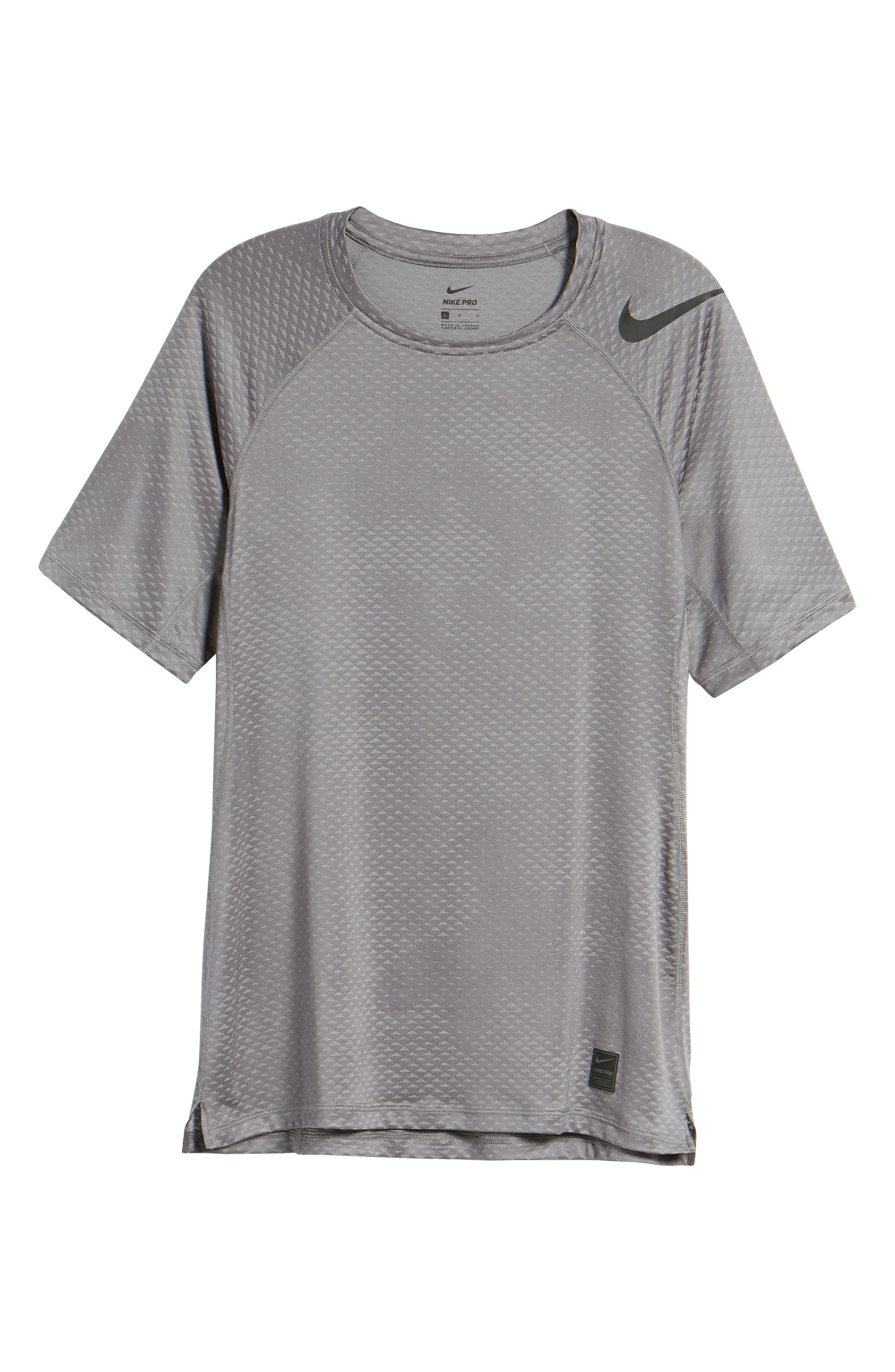 Pro HyperCool Fitted Crewneck T-Shirt,                             Alternate thumbnail 6, color,                             Atmosphere Grey/ Black