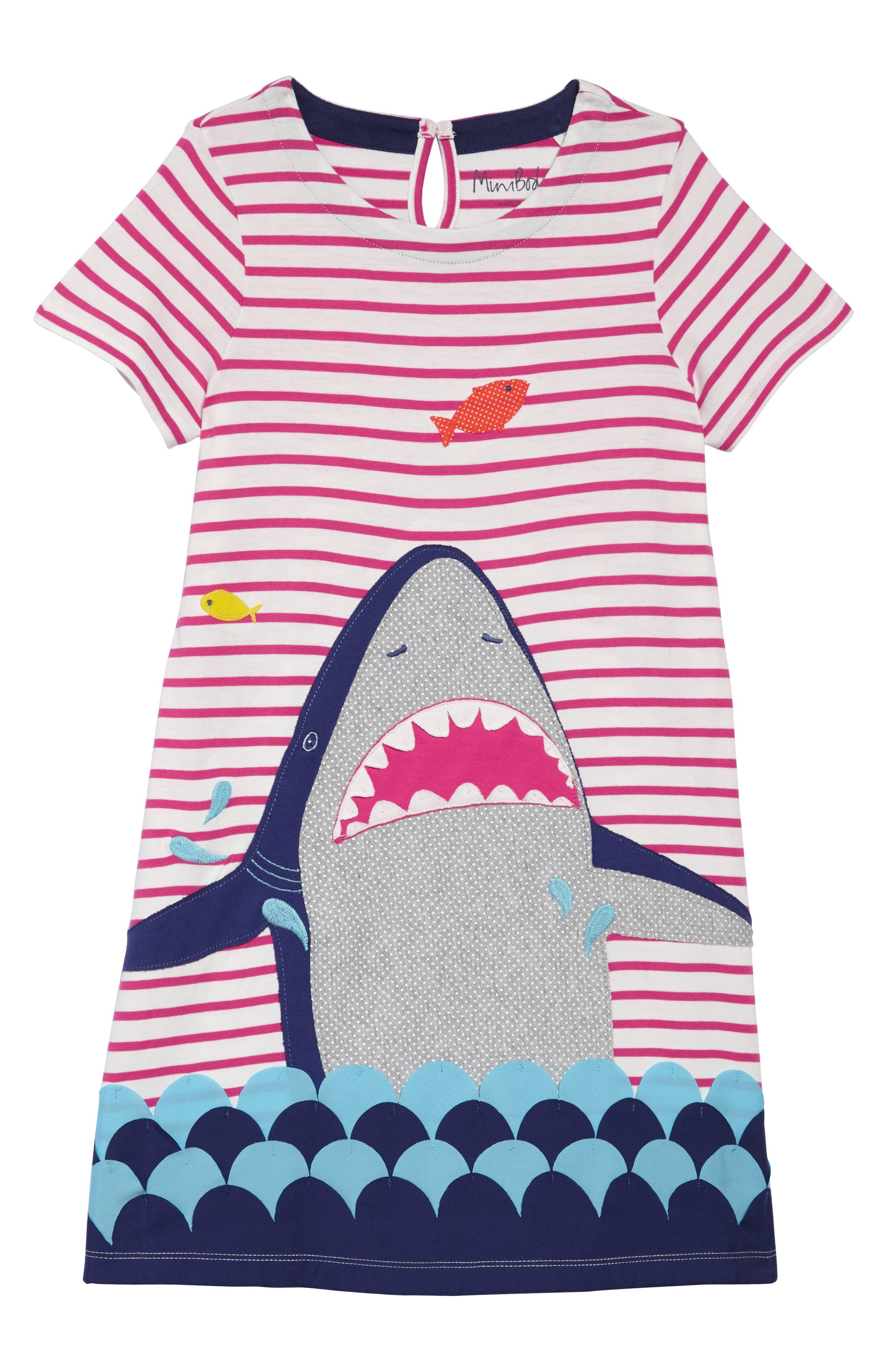 Summer Appliqué T-Shirt Dress,                             Main thumbnail 1, color,                             Mid Pink Stripe Shark Pnk