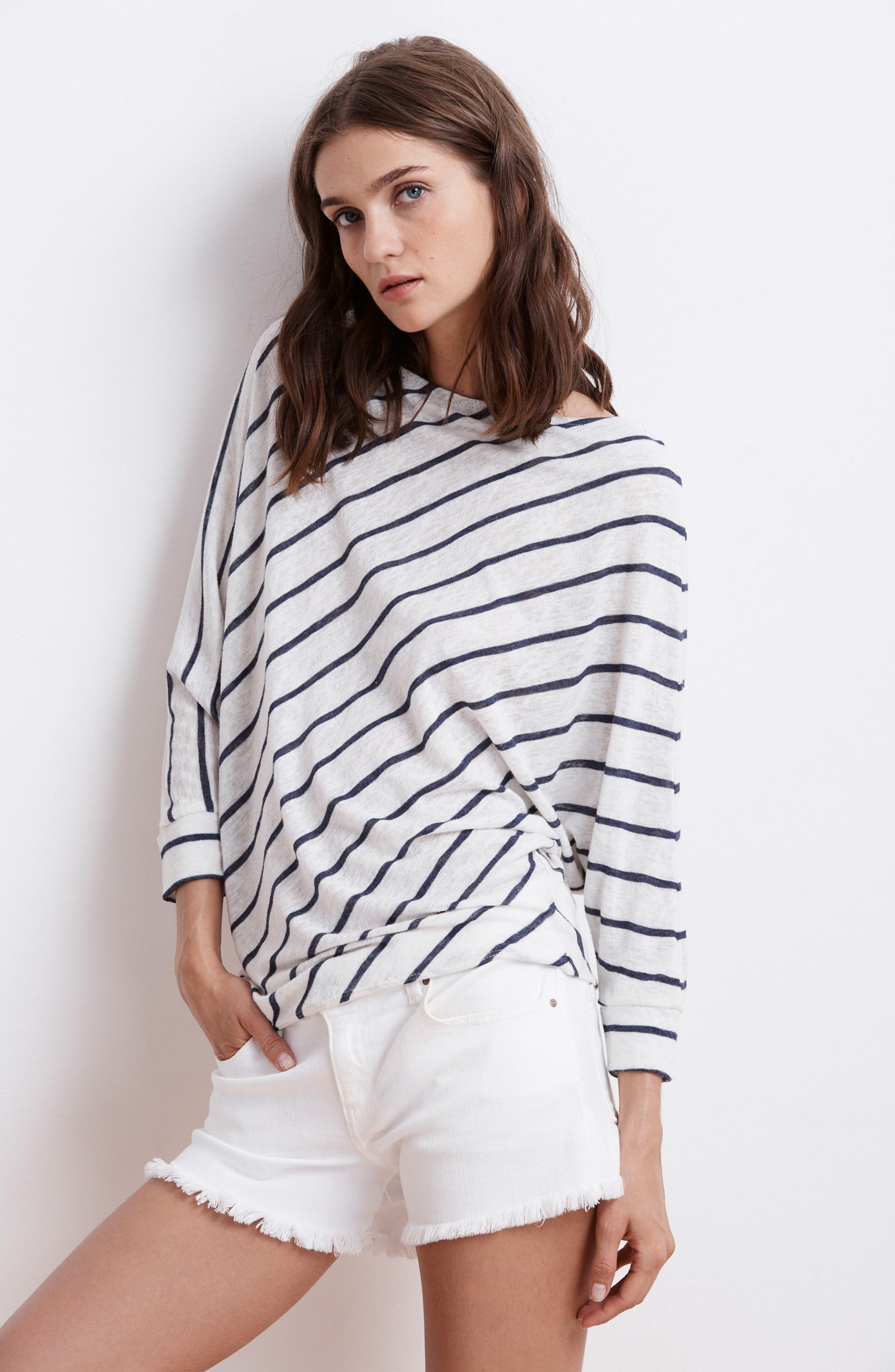 Stripe Dolman Sleeve Top,                             Alternate thumbnail 2, color,                             Cream
