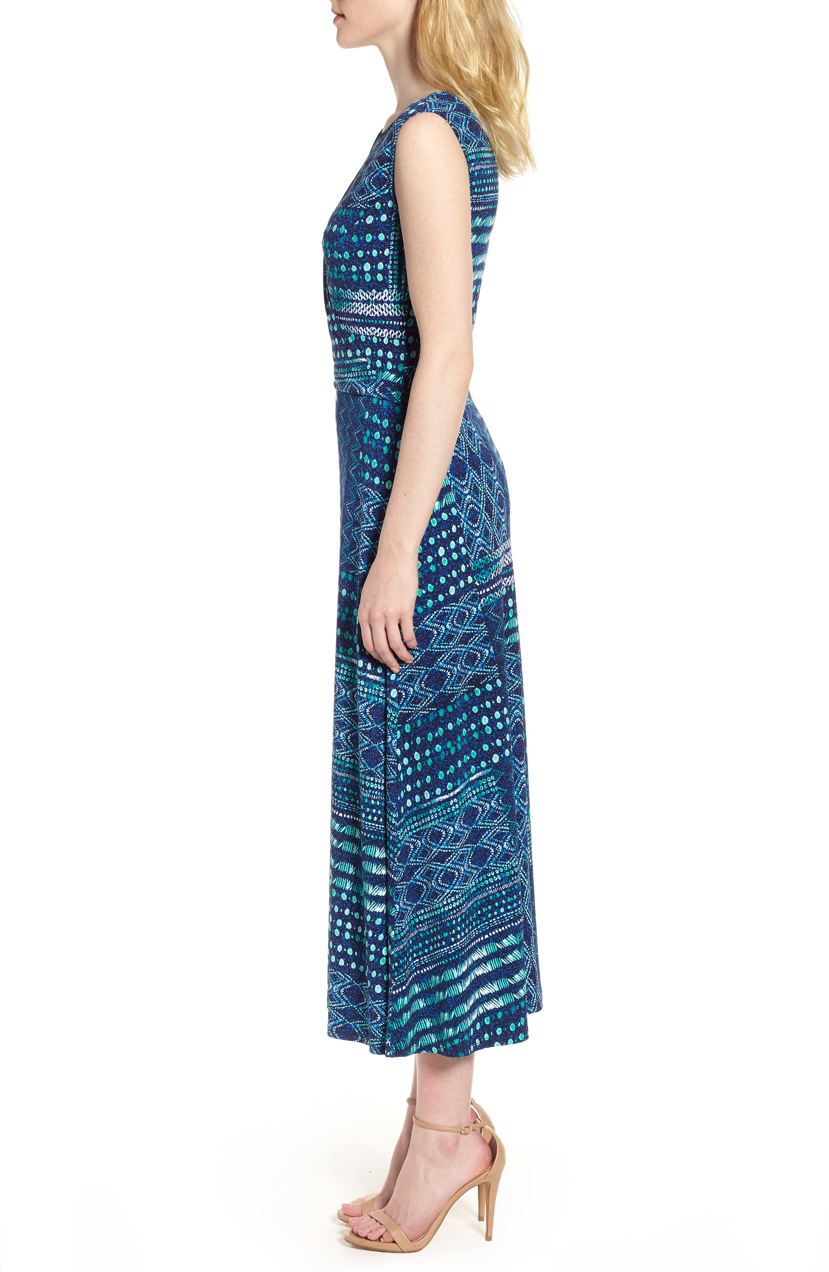 Patchwork Waves Ruched Stretch Jersey Dress,                             Alternate thumbnail 3, color,                             Evening Navy
