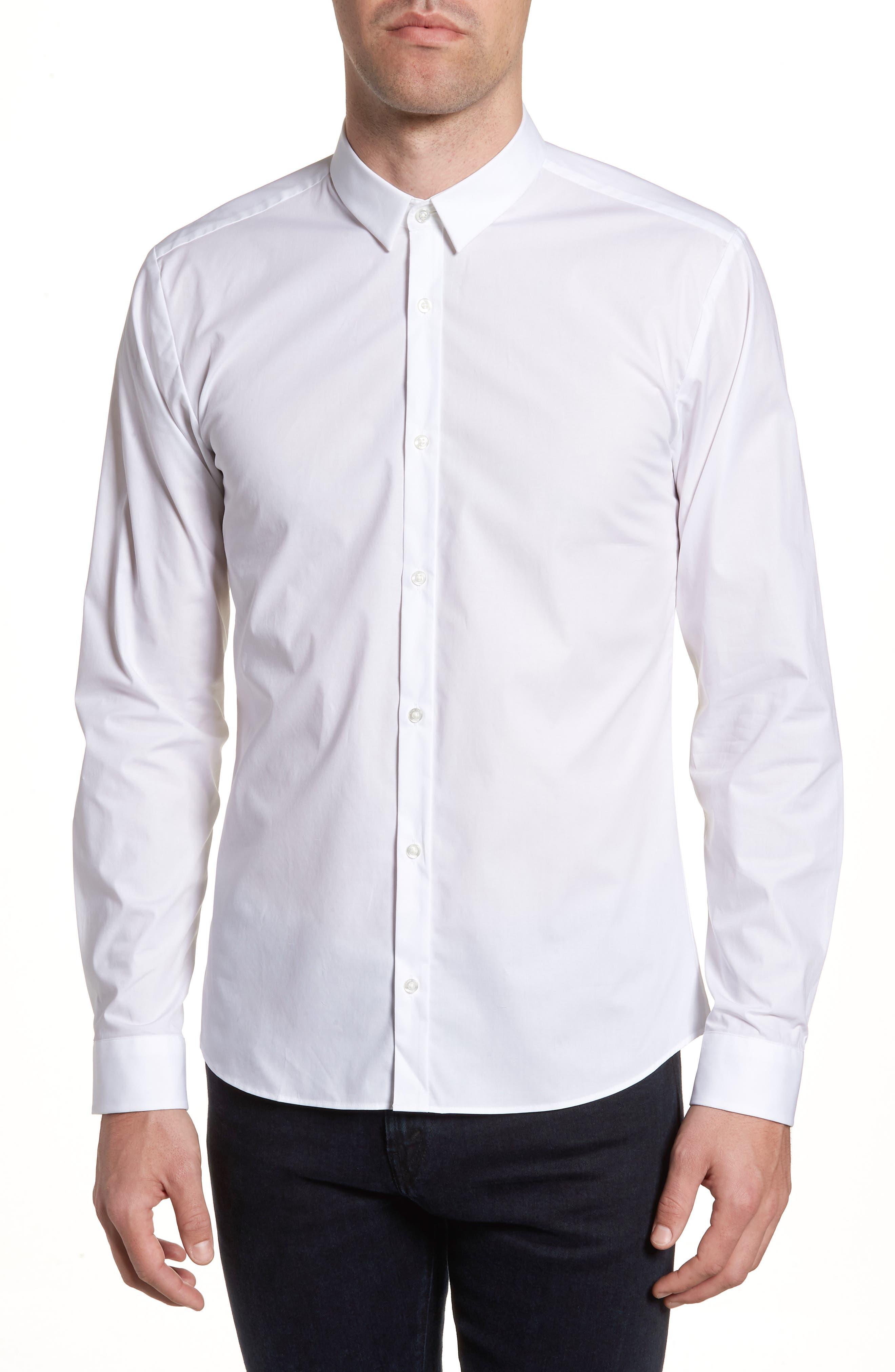 Ero3 Trim Fit Sport Shirt,                         Main,                         color, White
