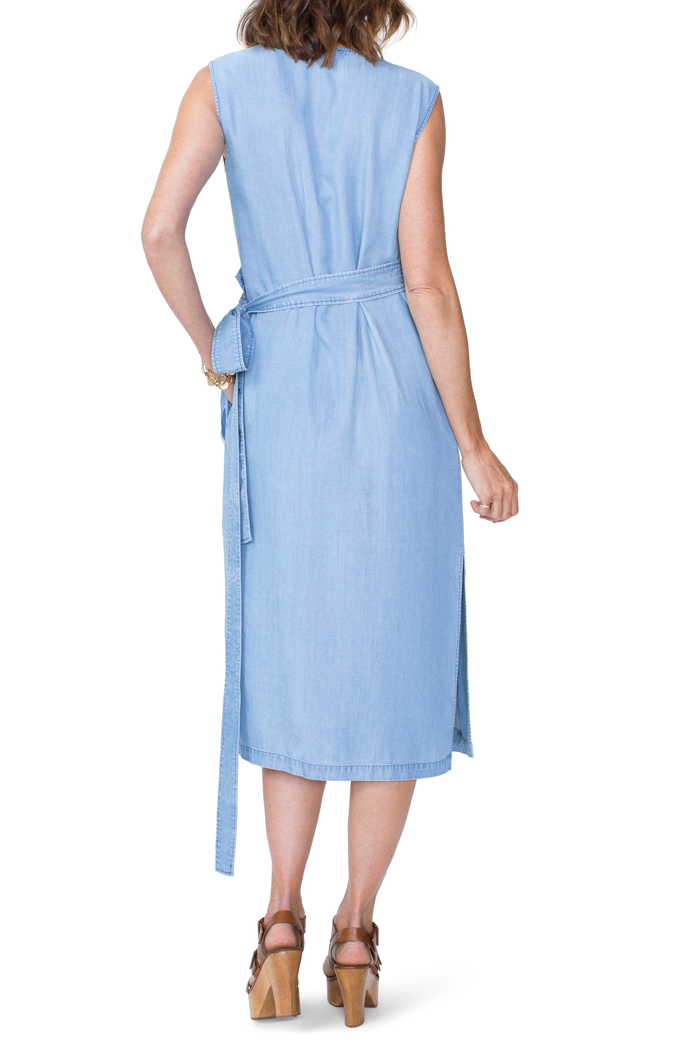 Chambray Release Detail Wrap Dress,                             Alternate thumbnail 2, color,                             Sea Mist Wash