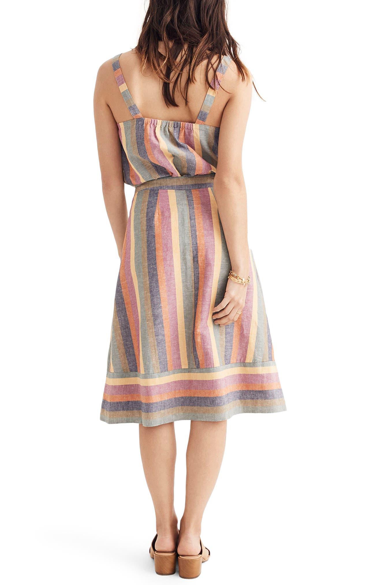 Rainbow Stripe Midi Skirt,                             Alternate thumbnail 2, color,                             Meadow Green