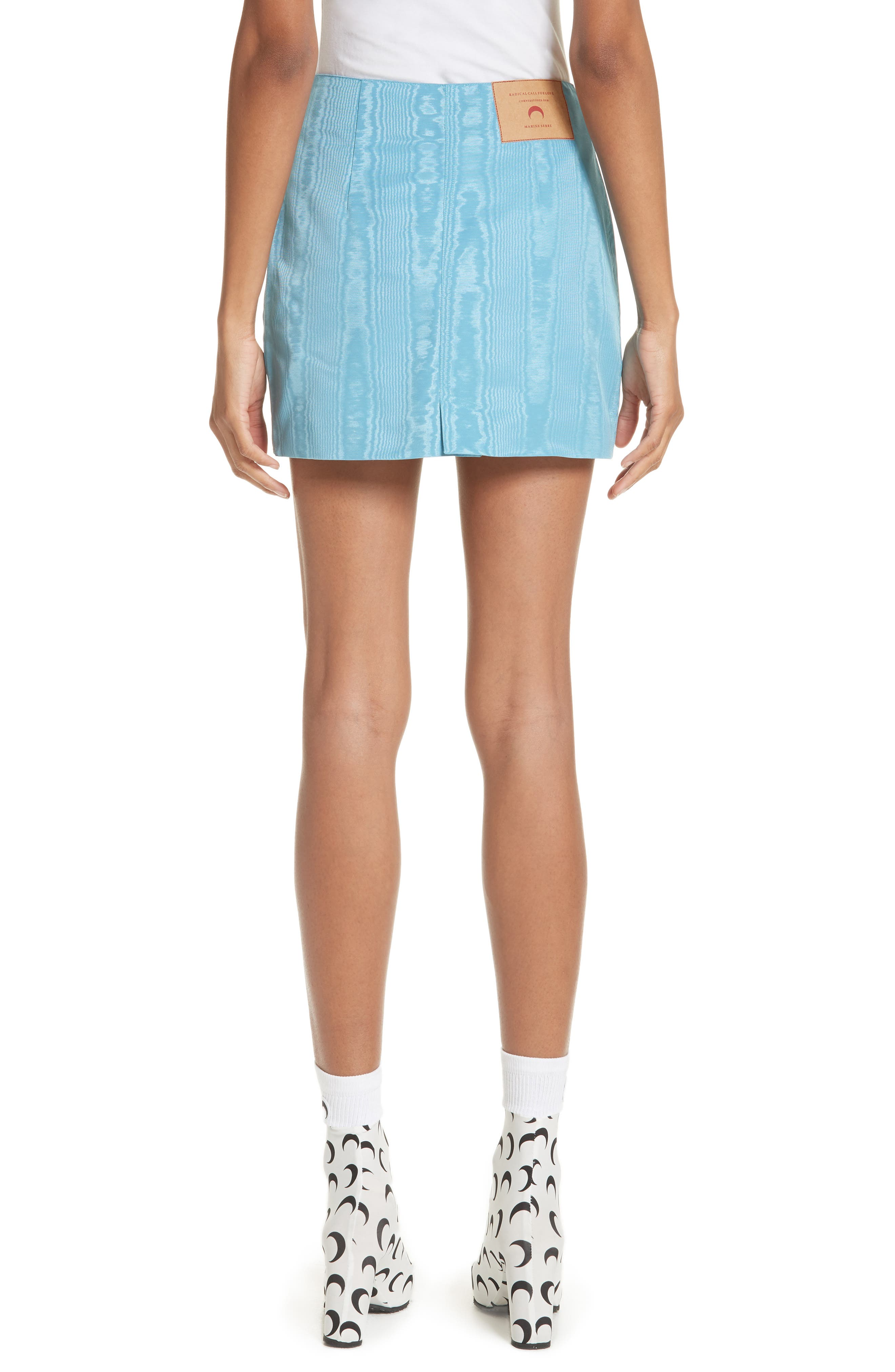 Moiré Miniskirt,                             Alternate thumbnail 2, color,                             Blue