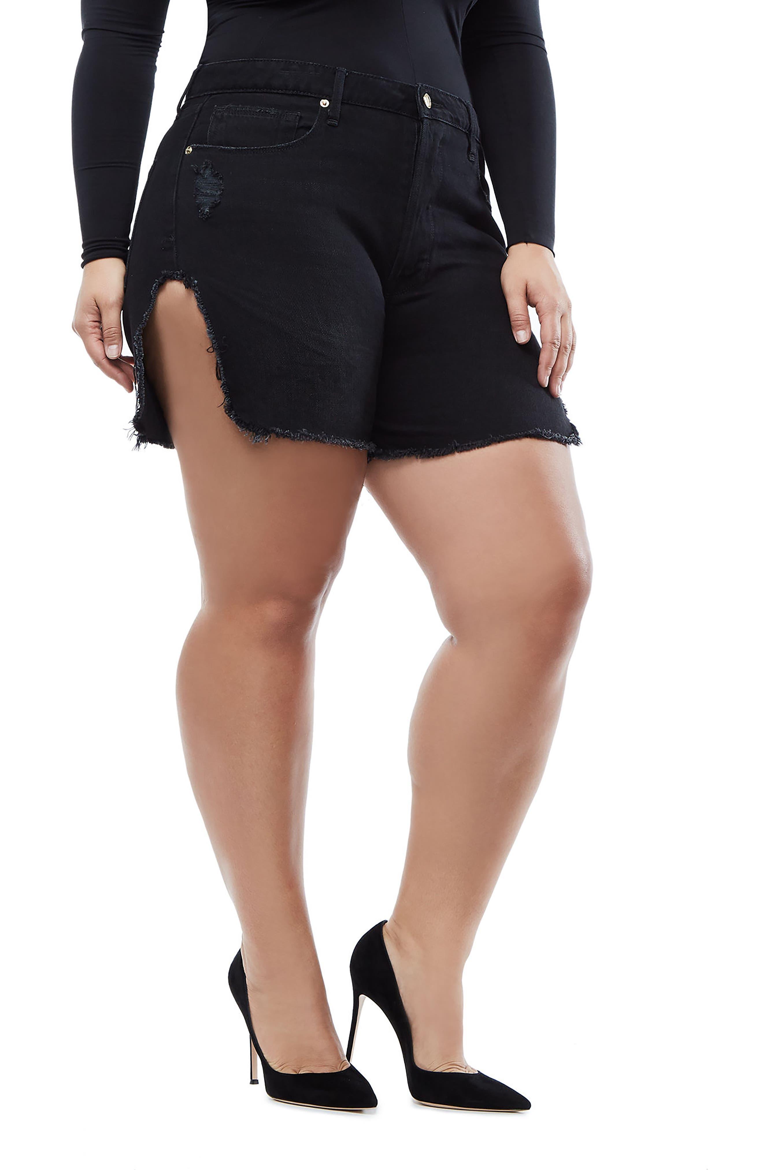 Bombshell High Waist Cutoff Denim Shorts,                             Alternate thumbnail 6, color,                             Black 019