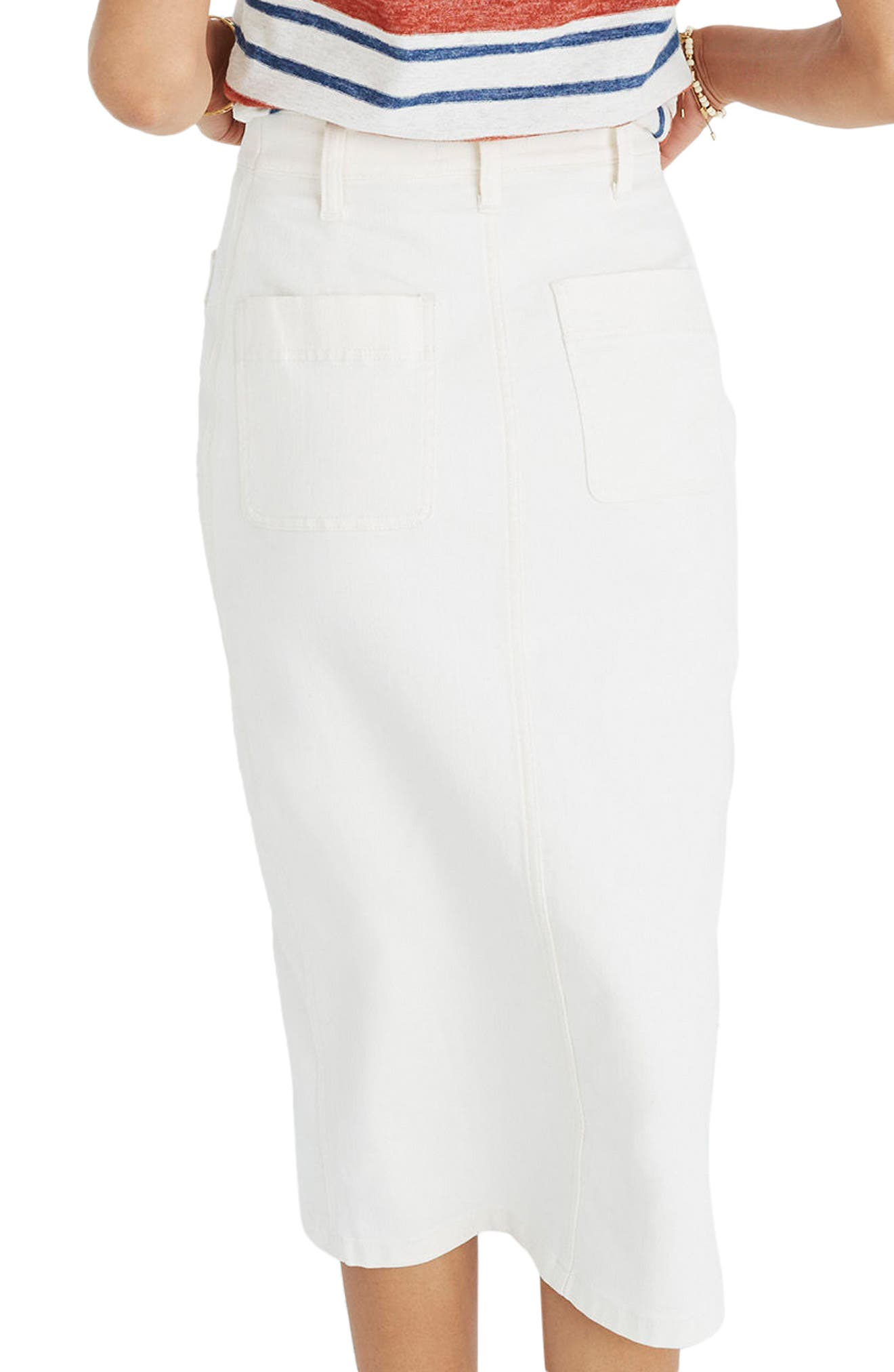 High Slit Denim Skirt,                             Alternate thumbnail 2, color,                             Tile White