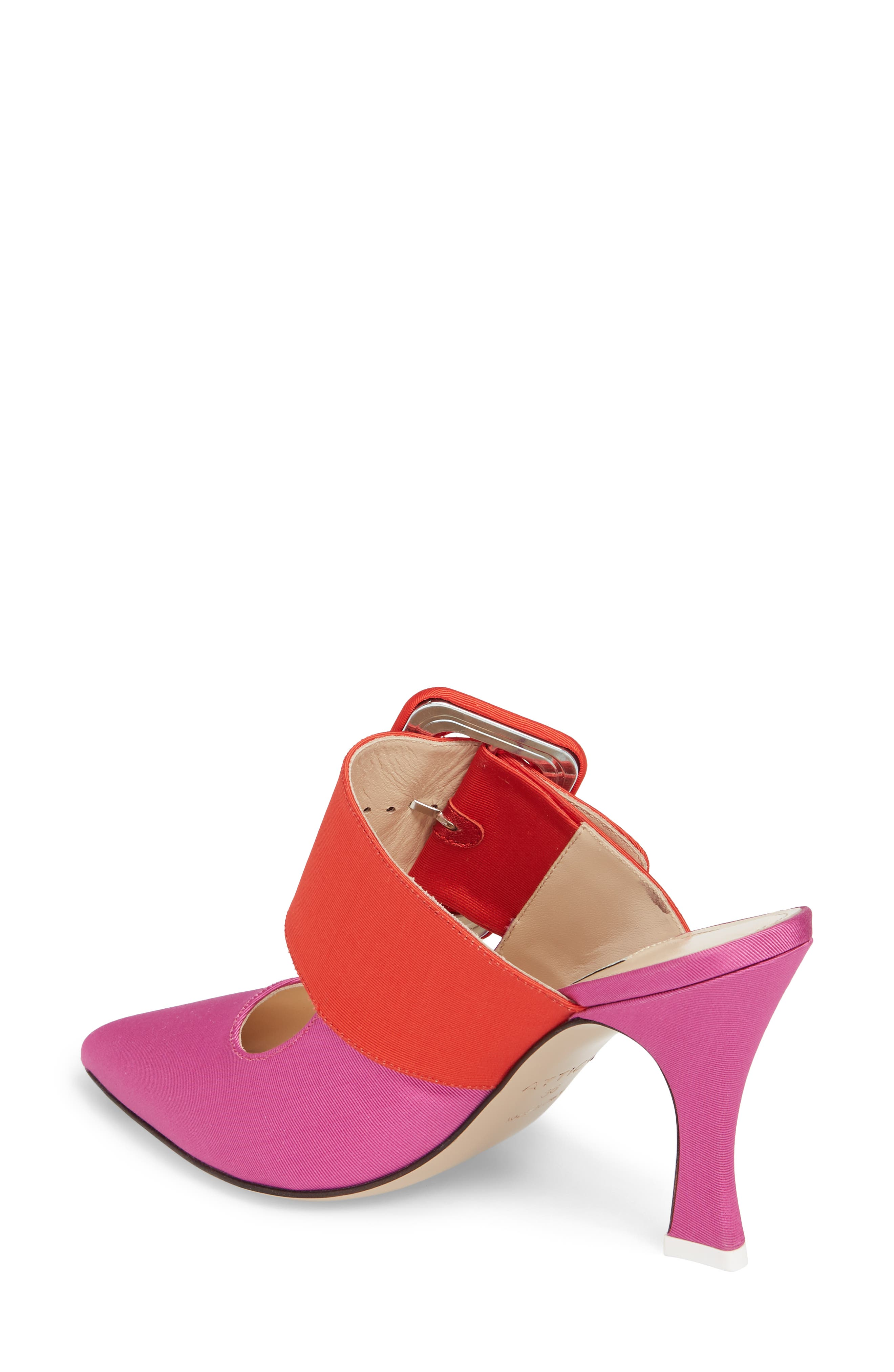 Chloé Buckle Mule,                             Alternate thumbnail 2, color,                             Pink/ Red