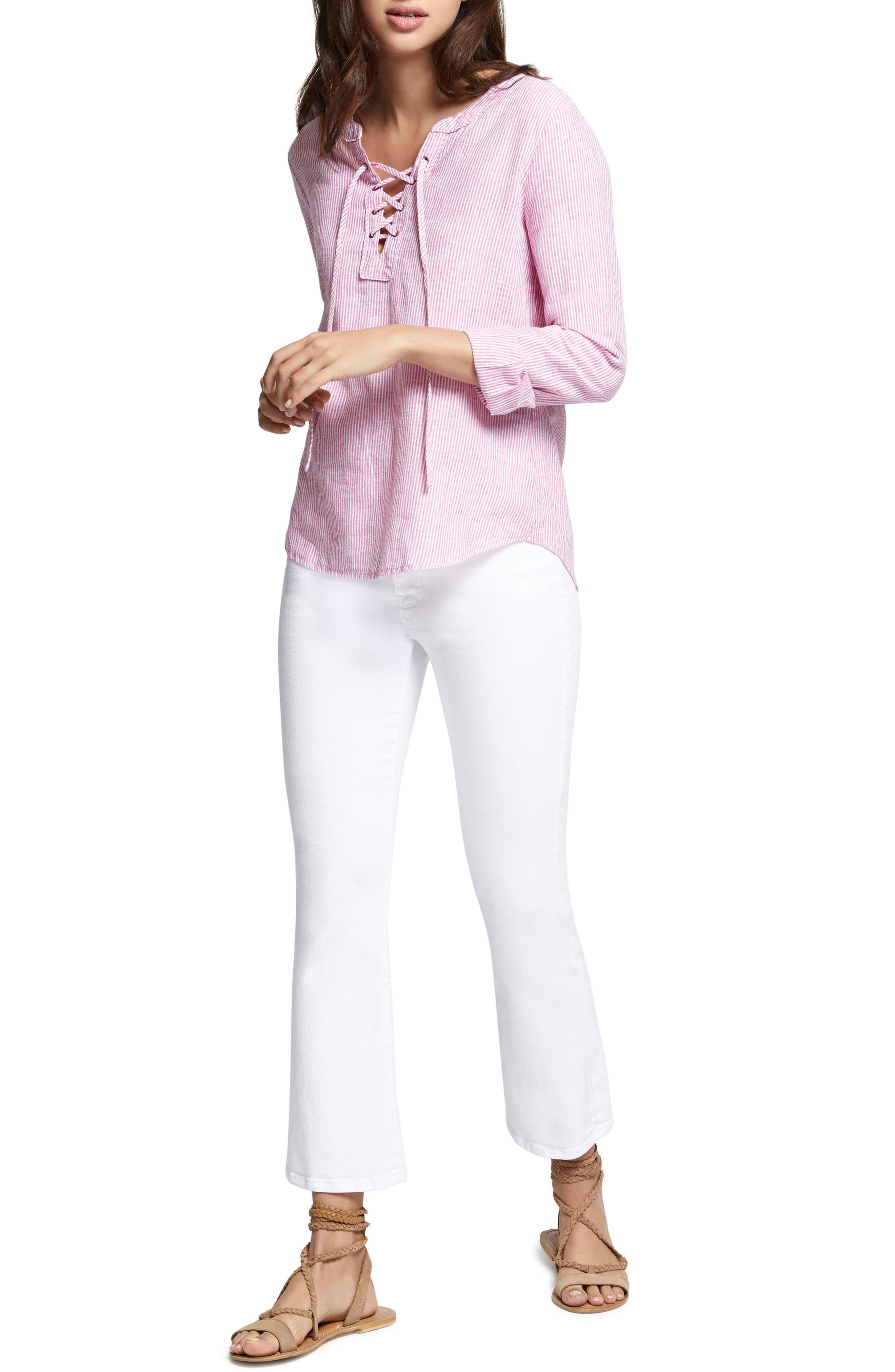 Tommie Lace-Up Stripe Shirt,                             Alternate thumbnail 5, color,                             Wild Cherry Stripe
