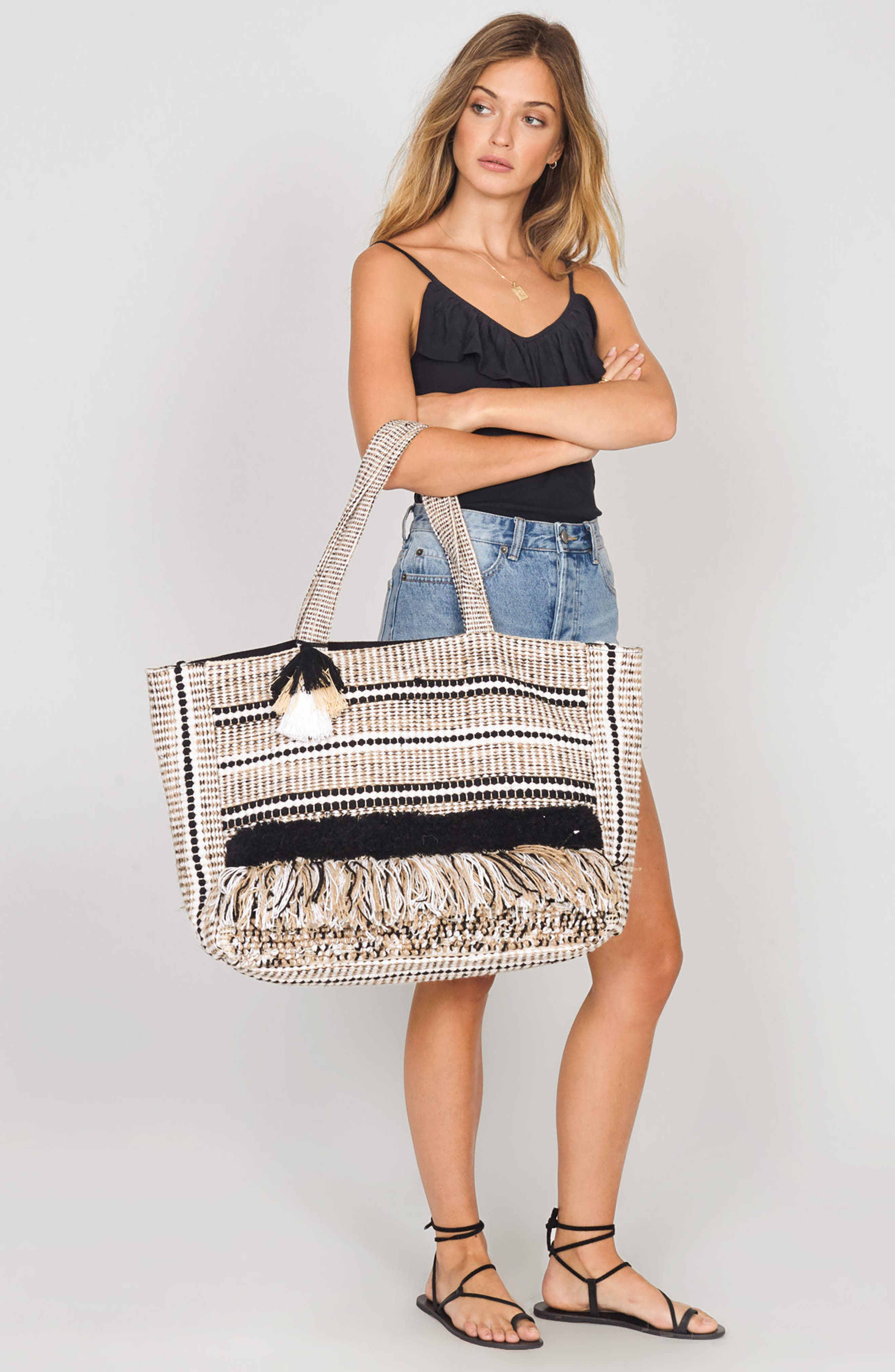 Carried Away Woven Weekend Tote,                             Alternate thumbnail 2, color,                             Black Sands