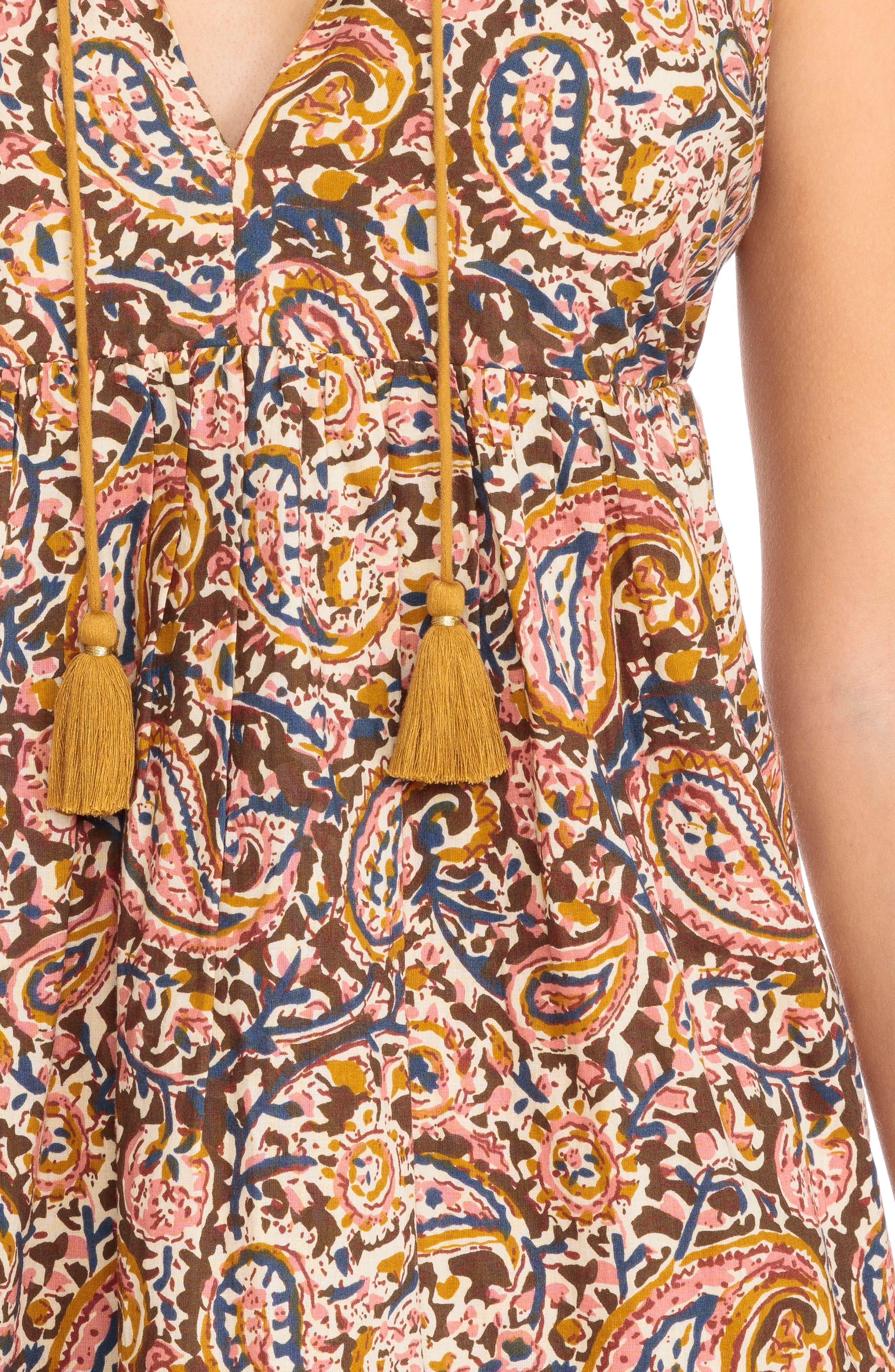 Arielle Paisley A-Line Dress,                             Alternate thumbnail 5, color,                             Indian Cashmere Print