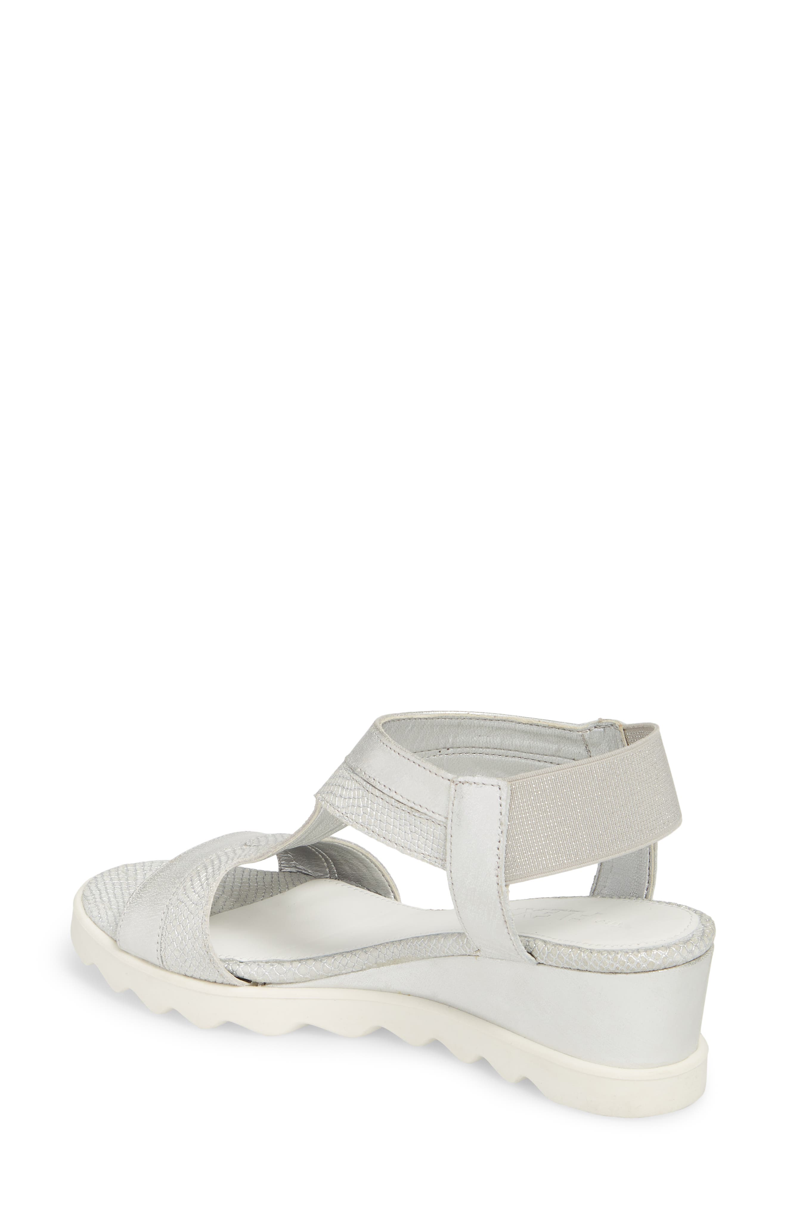 Give A Hoot Wedge Sandal,                             Alternate thumbnail 2, color,                             Silver Leather