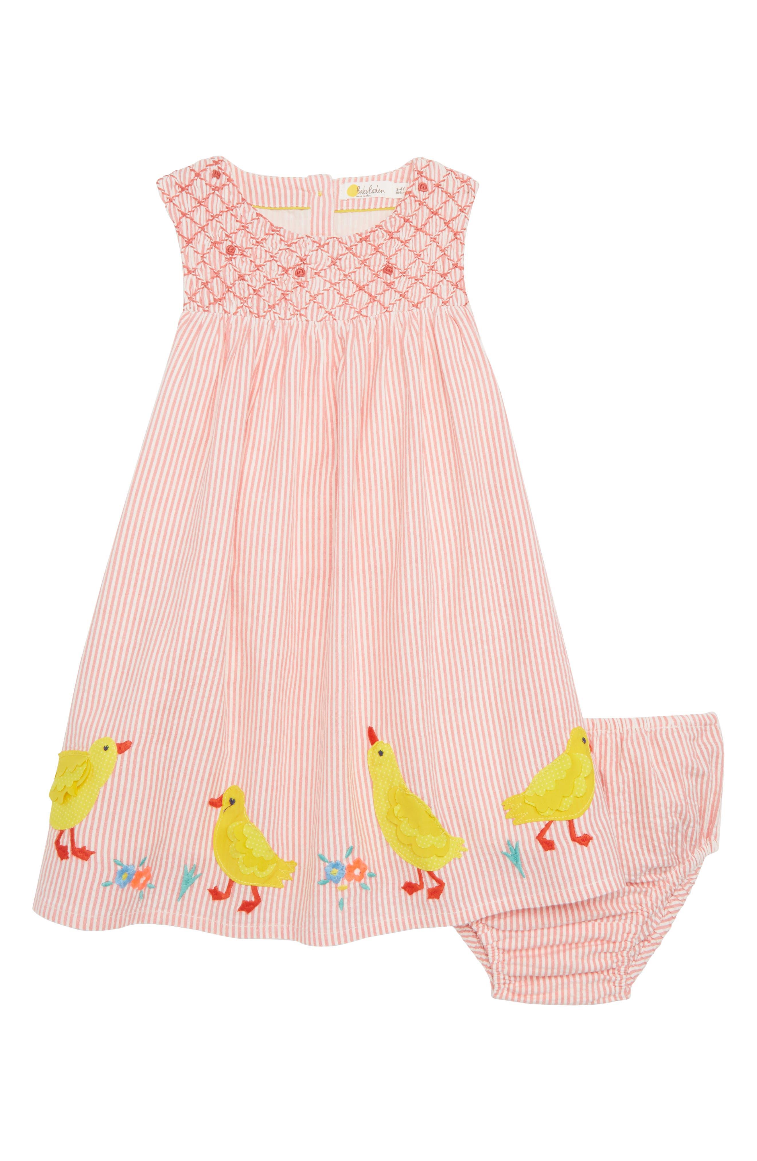 Mini Boden Smocked Chick Appliqué Dress (Baby Girls & Toddler Girls)