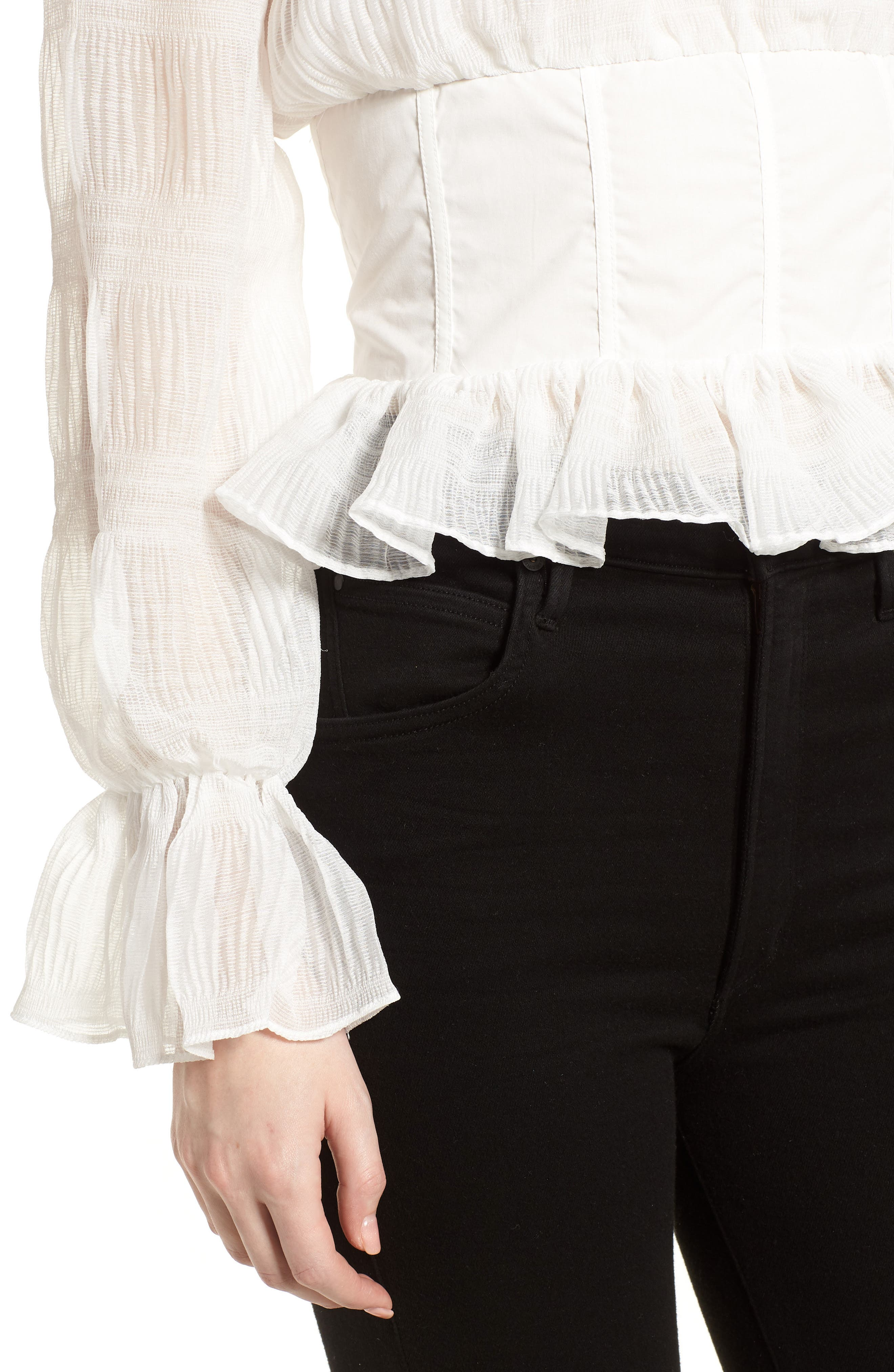 Date Night Off the Shoulder Chiffon Top,                             Alternate thumbnail 4, color,                             White