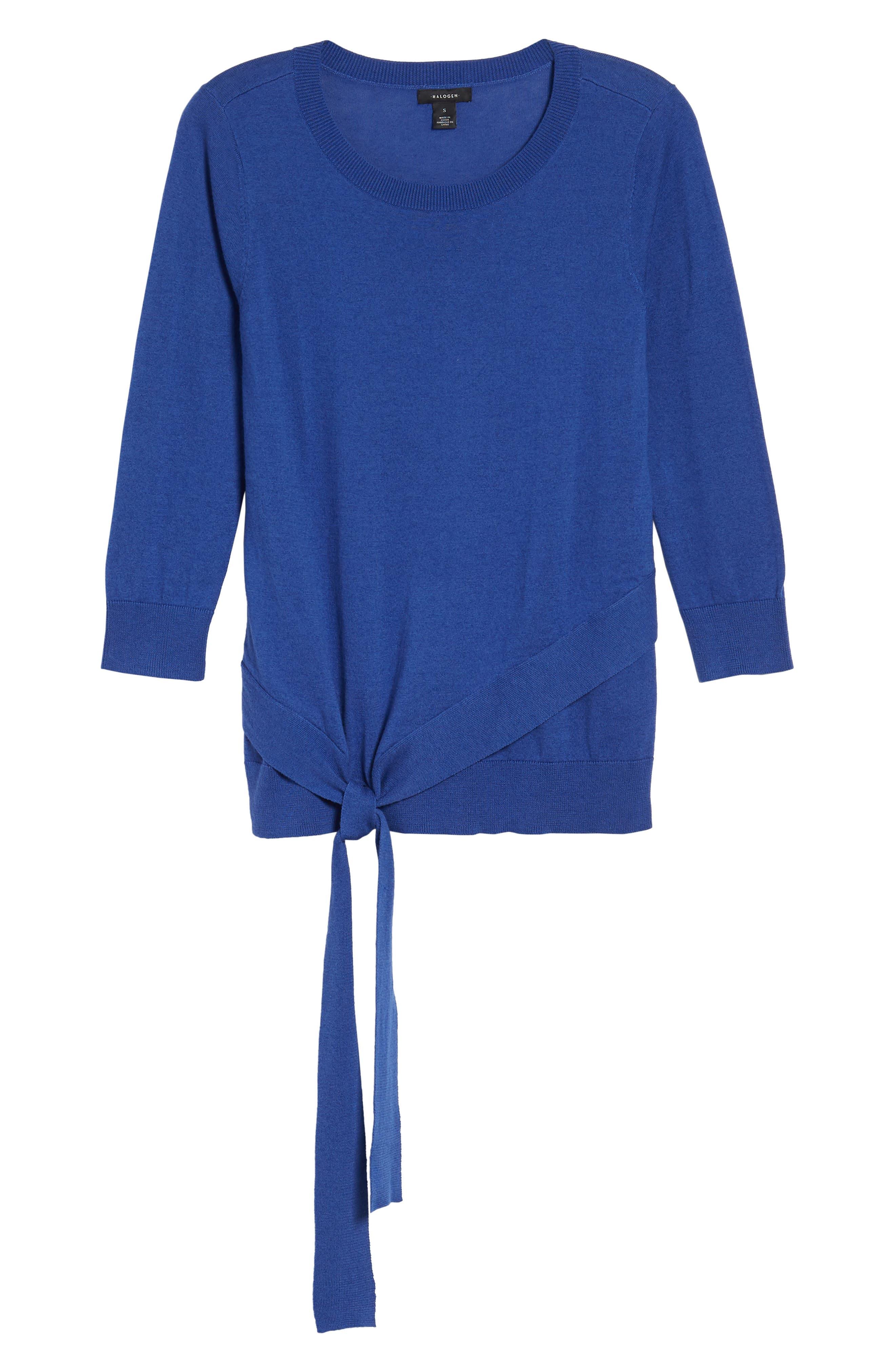 Pima Cotton Blend Tie Sweater,                             Alternate thumbnail 7, color,                             Blue Marine