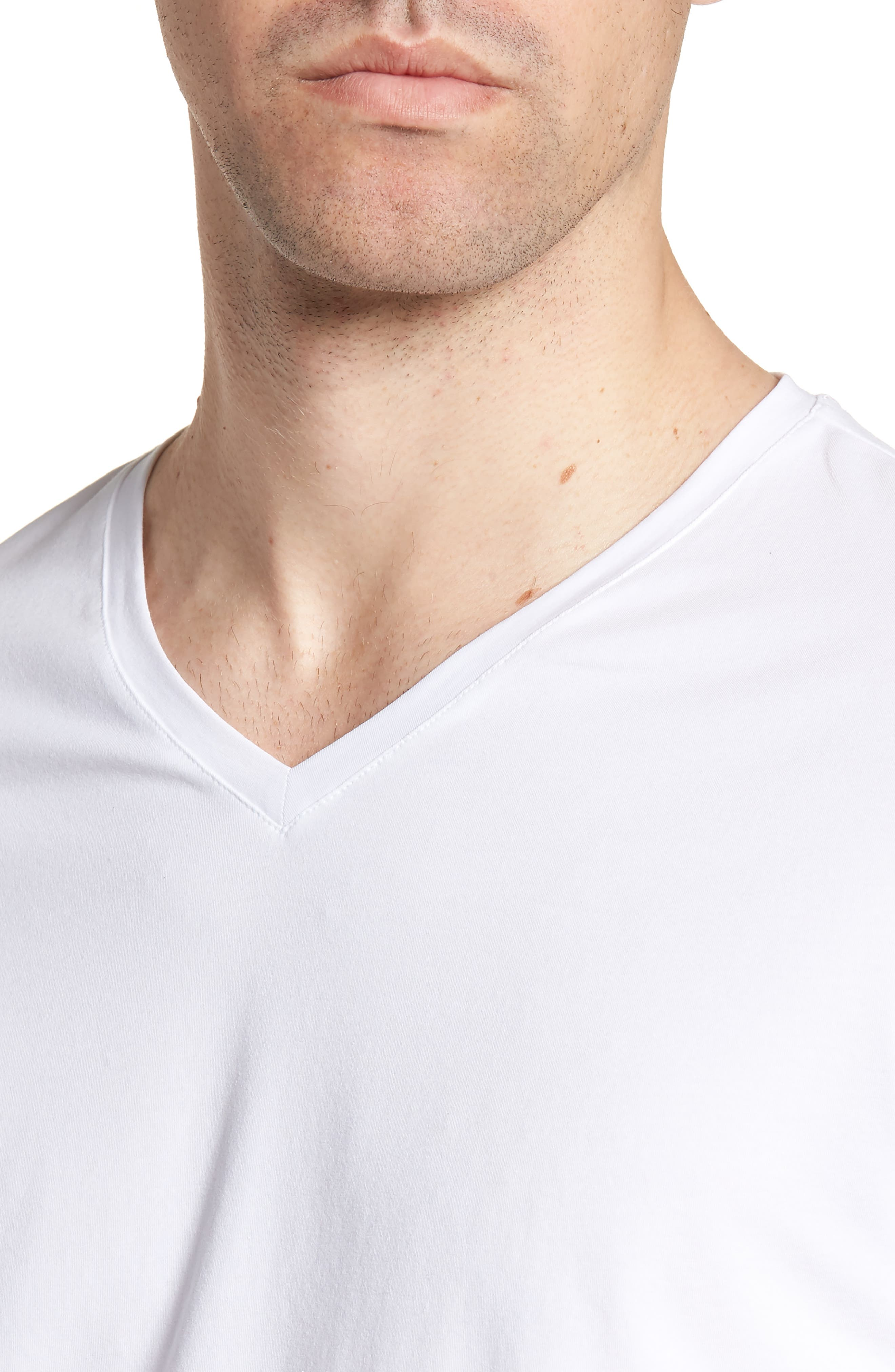 HUGO Dandre Slim Fit V-Neck T-Shirt,                             Alternate thumbnail 4, color,                             White