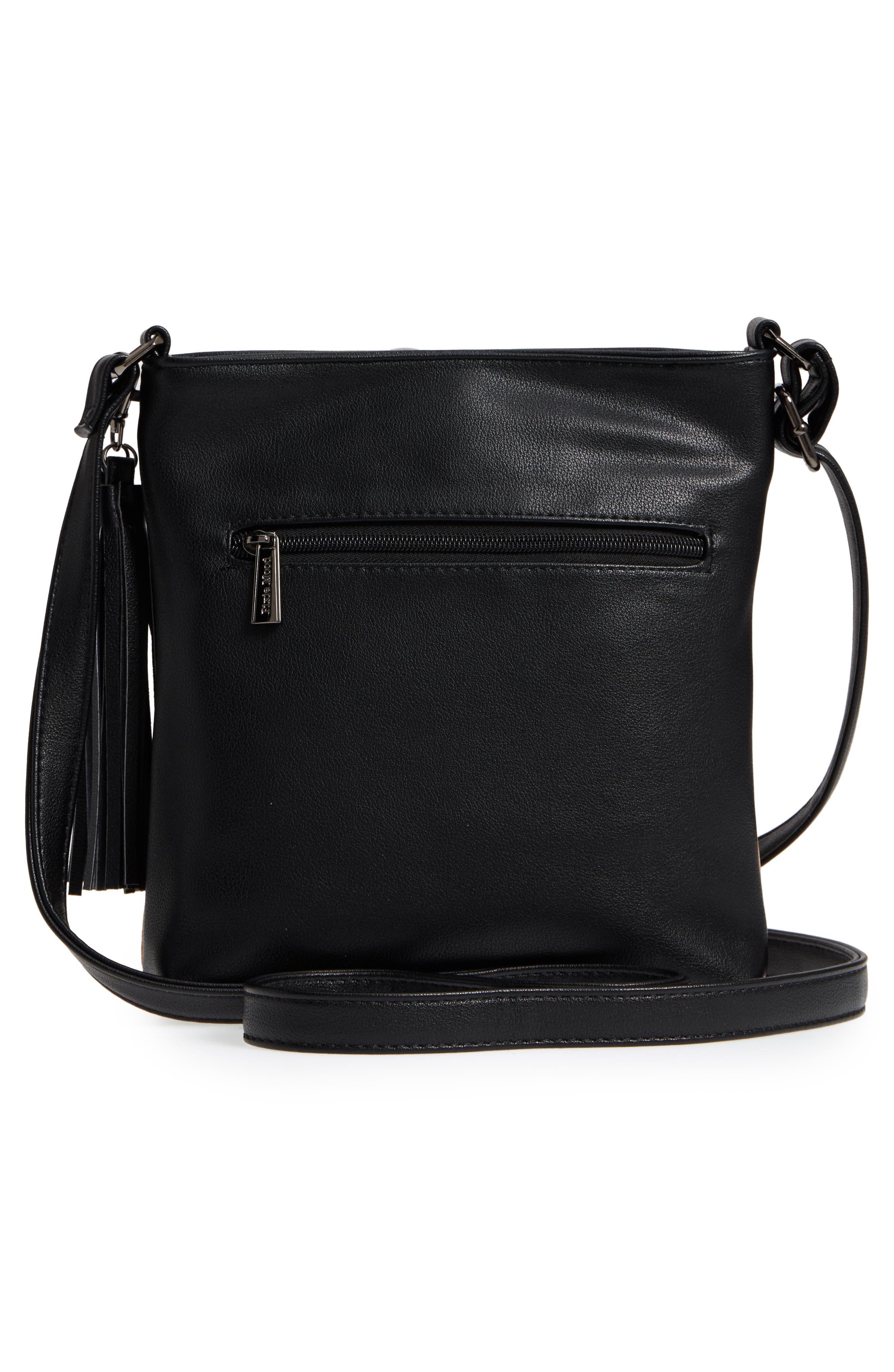 Claudia Faux Leather Crossbody Bag,                             Alternate thumbnail 3, color,                             Black